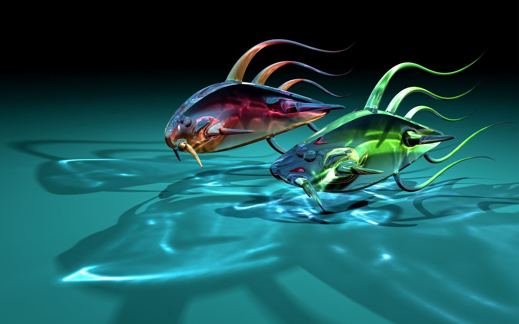 120608 download wallpaper Art, Fishes, Transparent, 3D, Glass, Shadows, Fish, Two screensavers and pictures for free