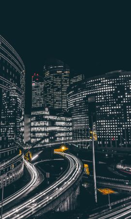 126964 Screensavers and Wallpapers Roads for phone. Download Night City, Building, Roads, Defense, France, Cities pictures for free