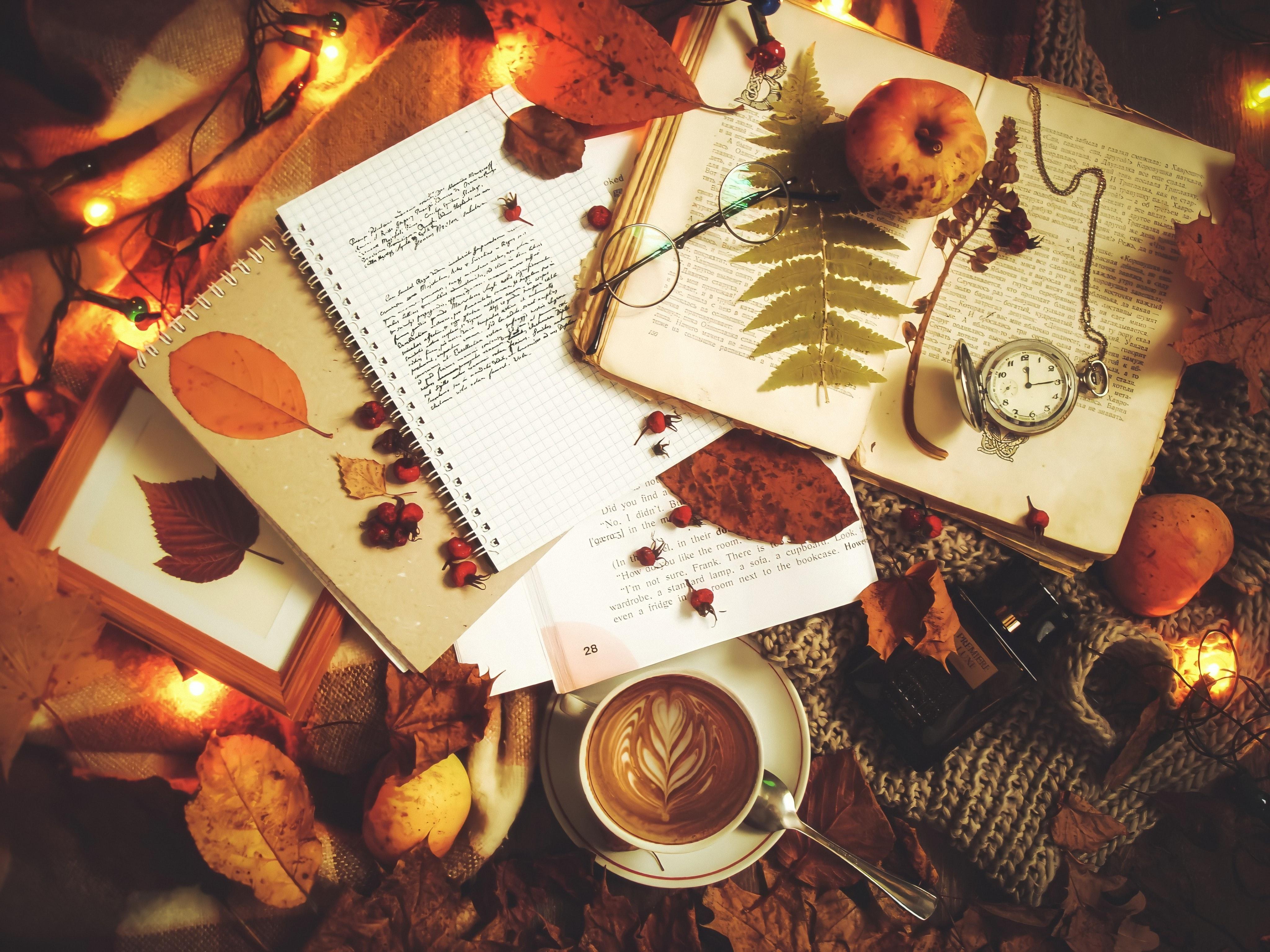 103805 Hintergrundbild herunterladen Herbst, Coffee, Verschiedenes, Sonstige, Inschrift, Text, Notizbuch - Bildschirmschoner und Bilder kostenlos