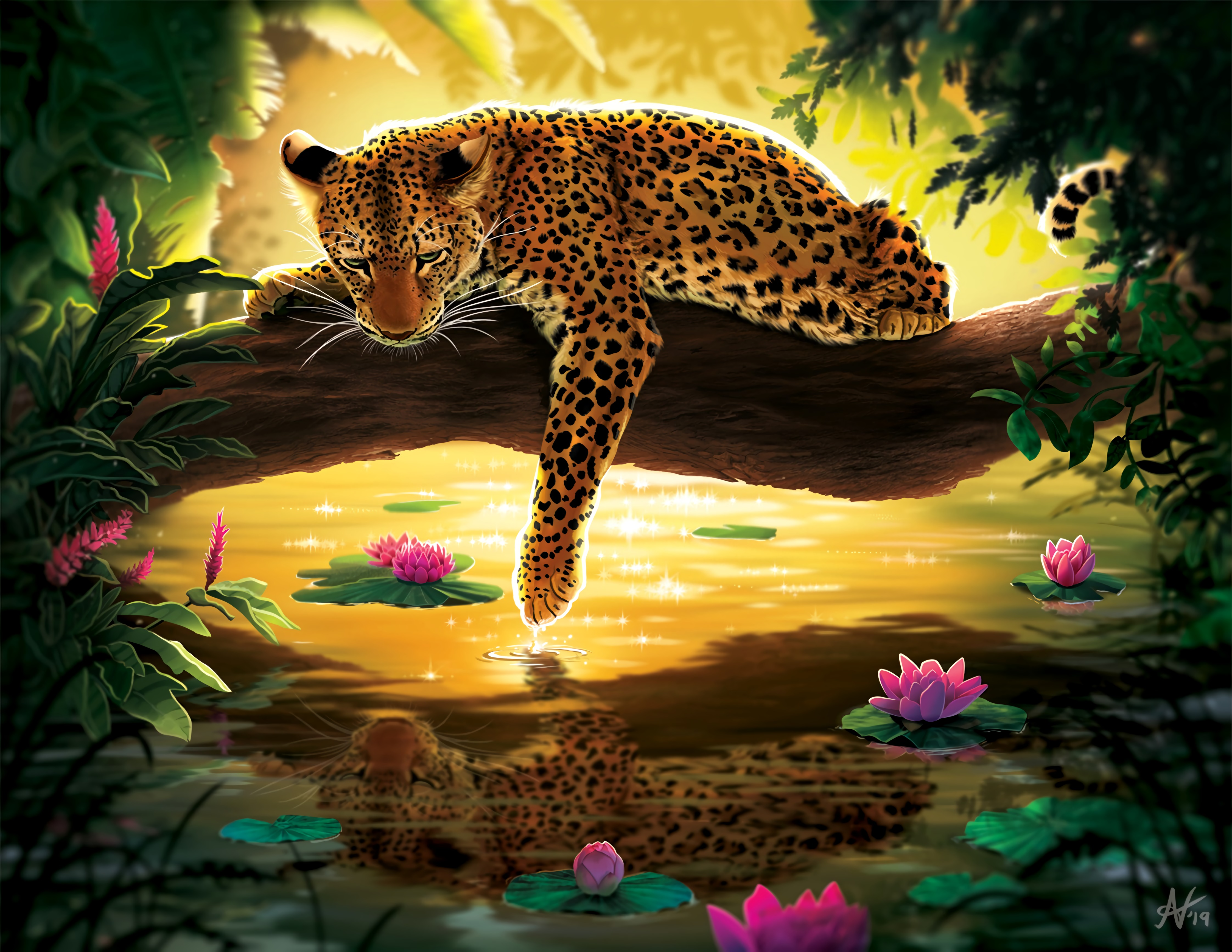 90137 papel de parede 1080x2400 em seu telefone gratuitamente, baixe imagens Água, Arte, Leopardo, Nenúfares, Madeira, Árvore 1080x2400 em seu celular