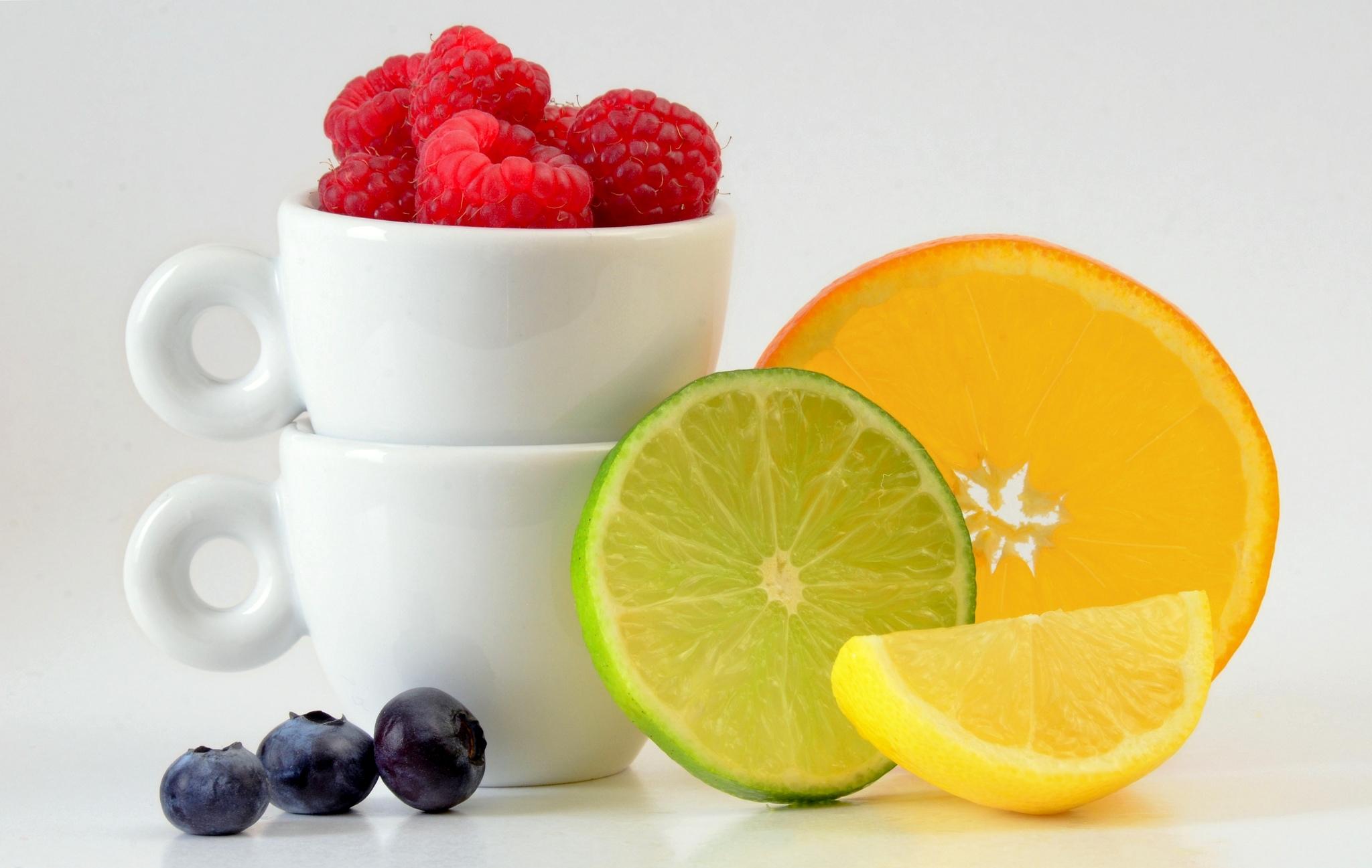 108345 download wallpaper Food, Raspberry, Lime, Bilberries, Berries, Lemon, Citrus, Citruses screensavers and pictures for free