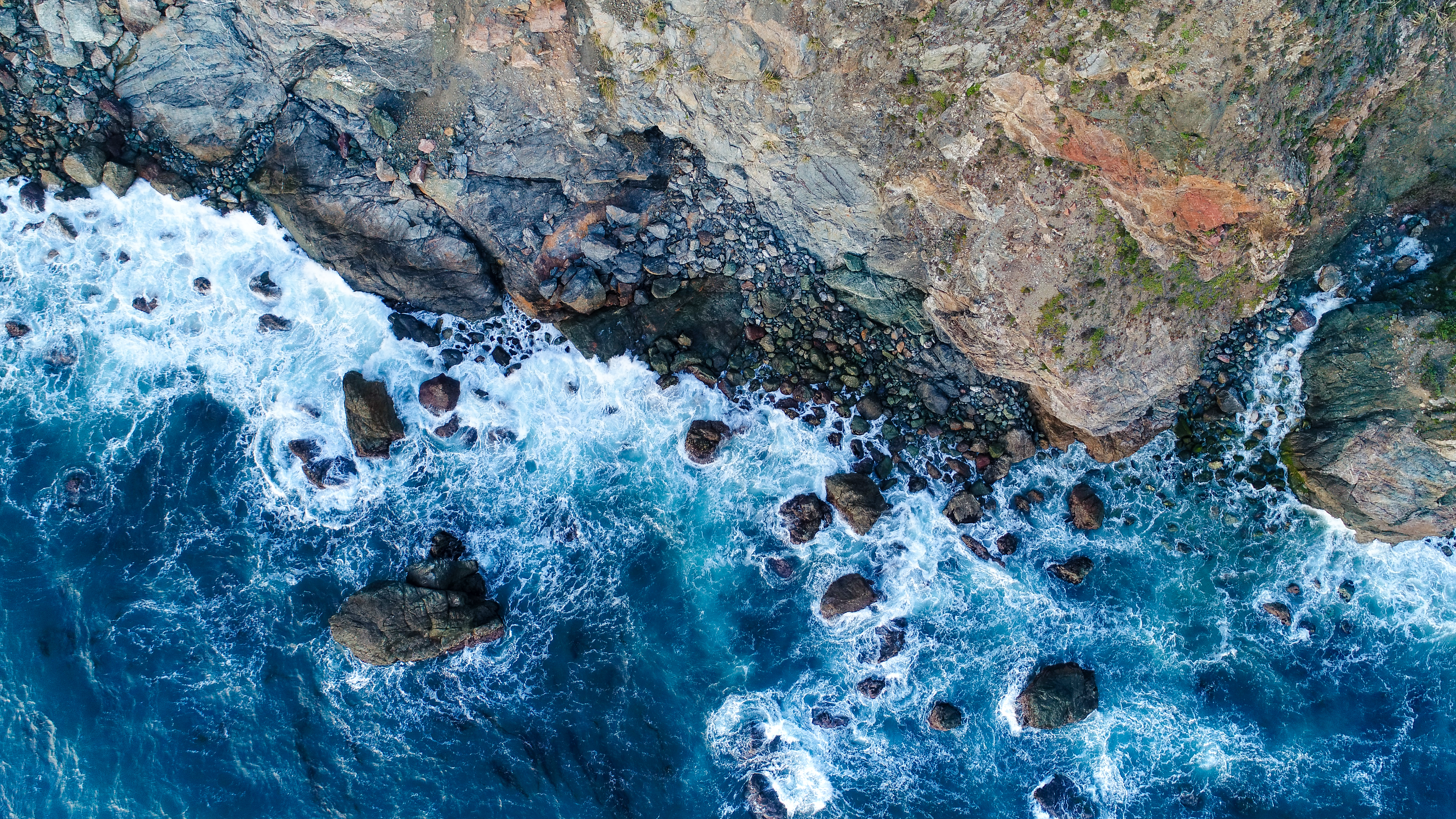 51435 download wallpaper Nature, Water, Sea, Rocks, View From Above, Shore, Bank screensavers and pictures for free