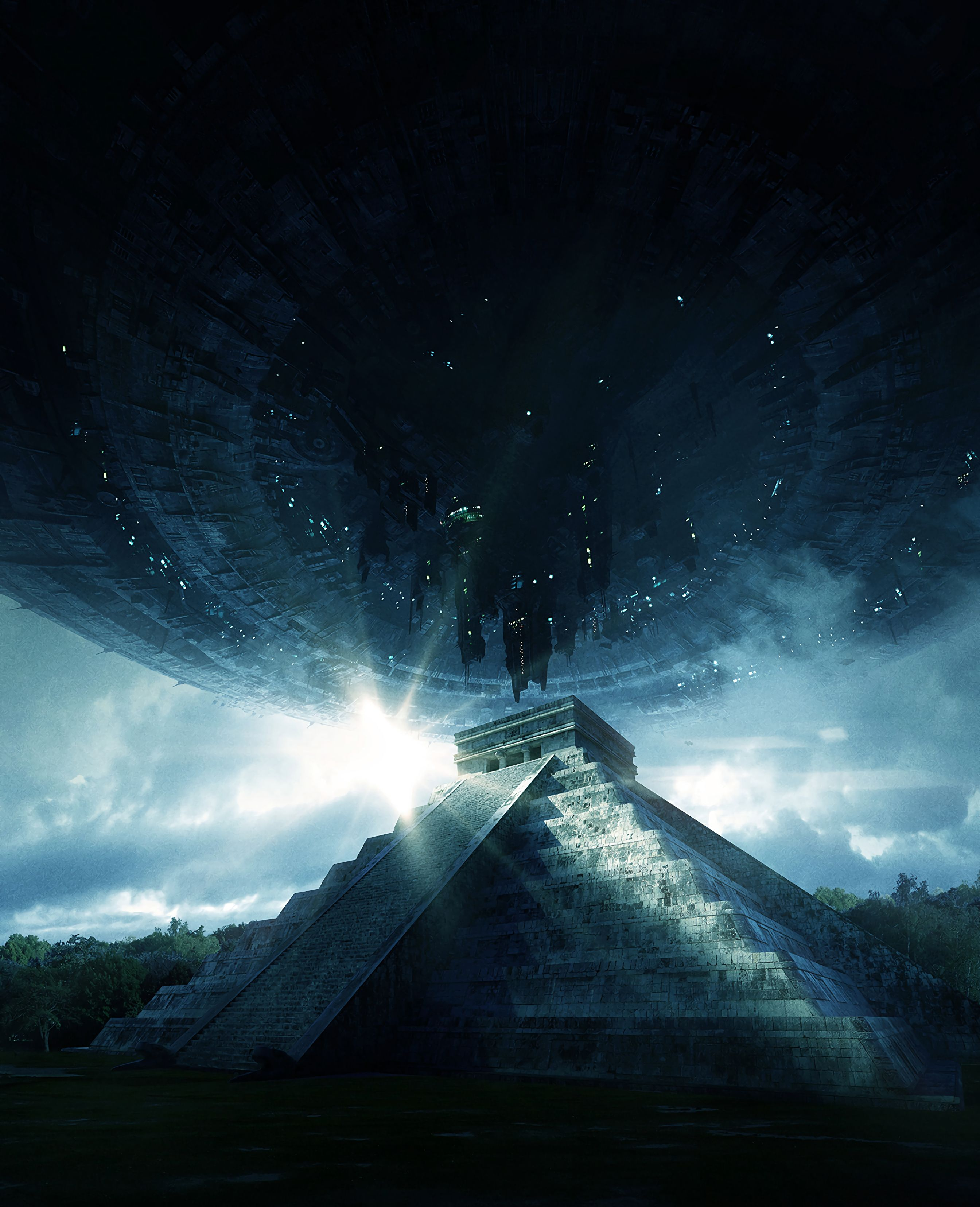 118420 download wallpaper Fantasy, Pyramid, Ufo, Aliens, Visit, Contact, Extraterrestrial, Civilization screensavers and pictures for free