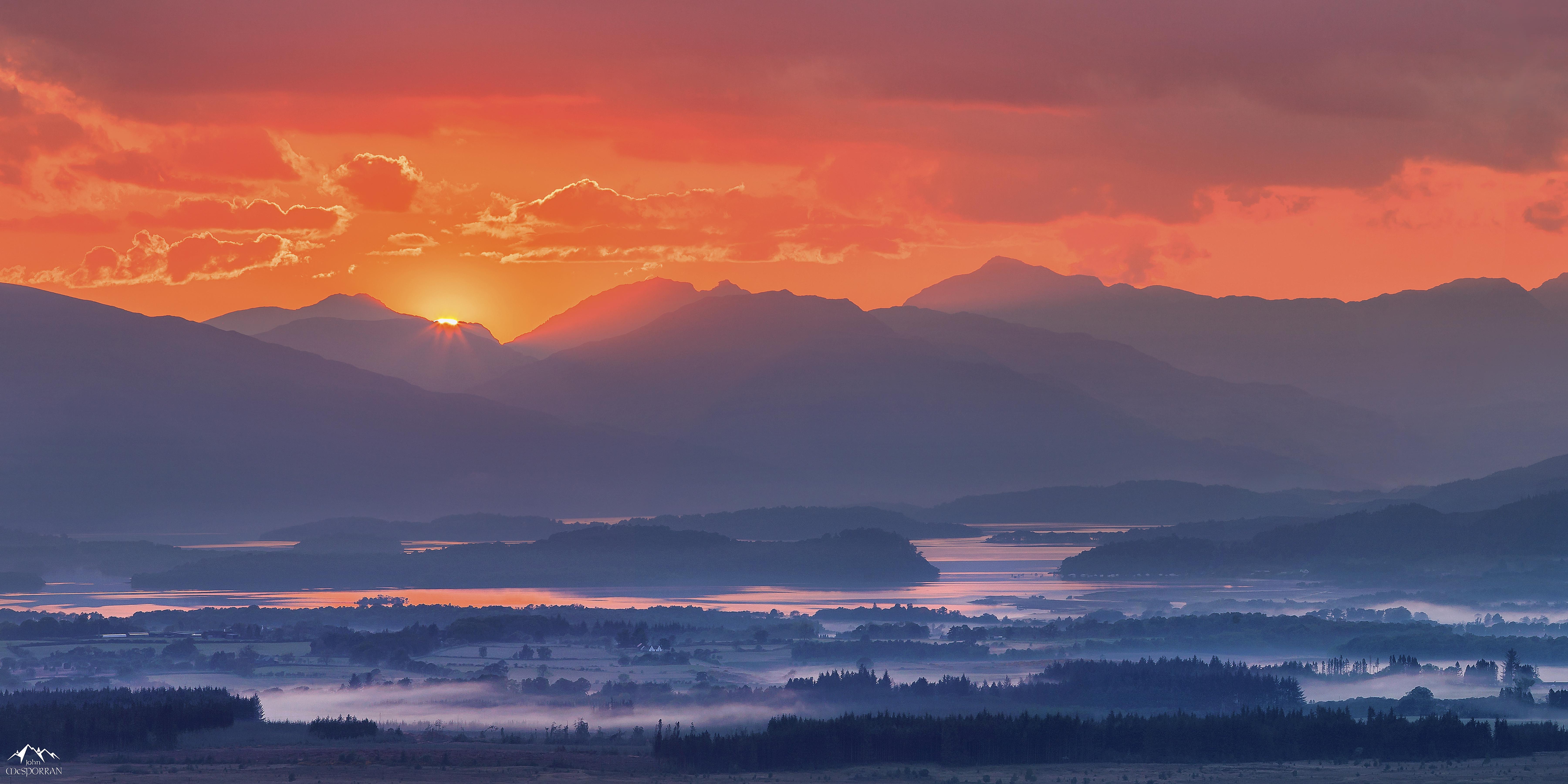免費下載 50594: 性质, 日落, 山, 多雾路段, 雾, 苏格兰, 萝梦湖, 洛蒙德湖 桌面壁紙