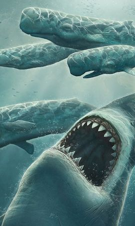 2739 baixar papel de parede Arte, Sharks, Peixes, Imagens - protetores de tela e imagens gratuitamente