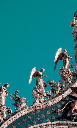 149279 скачать обои Статуи, Крыша, Небо, Архитектура, Города, Ангелы, Венеция - заставки и картинки бесплатно