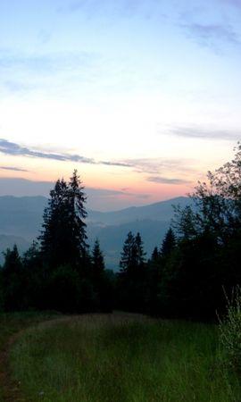 23714 скачать обои Пейзаж, Деревья, Закат, Горы - заставки и картинки бесплатно