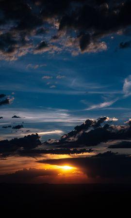 157354 Заставки и Обои Солнце на телефон. Скачать Темные, Закат, Облака, Сумерки, Темный, Солнце картинки бесплатно