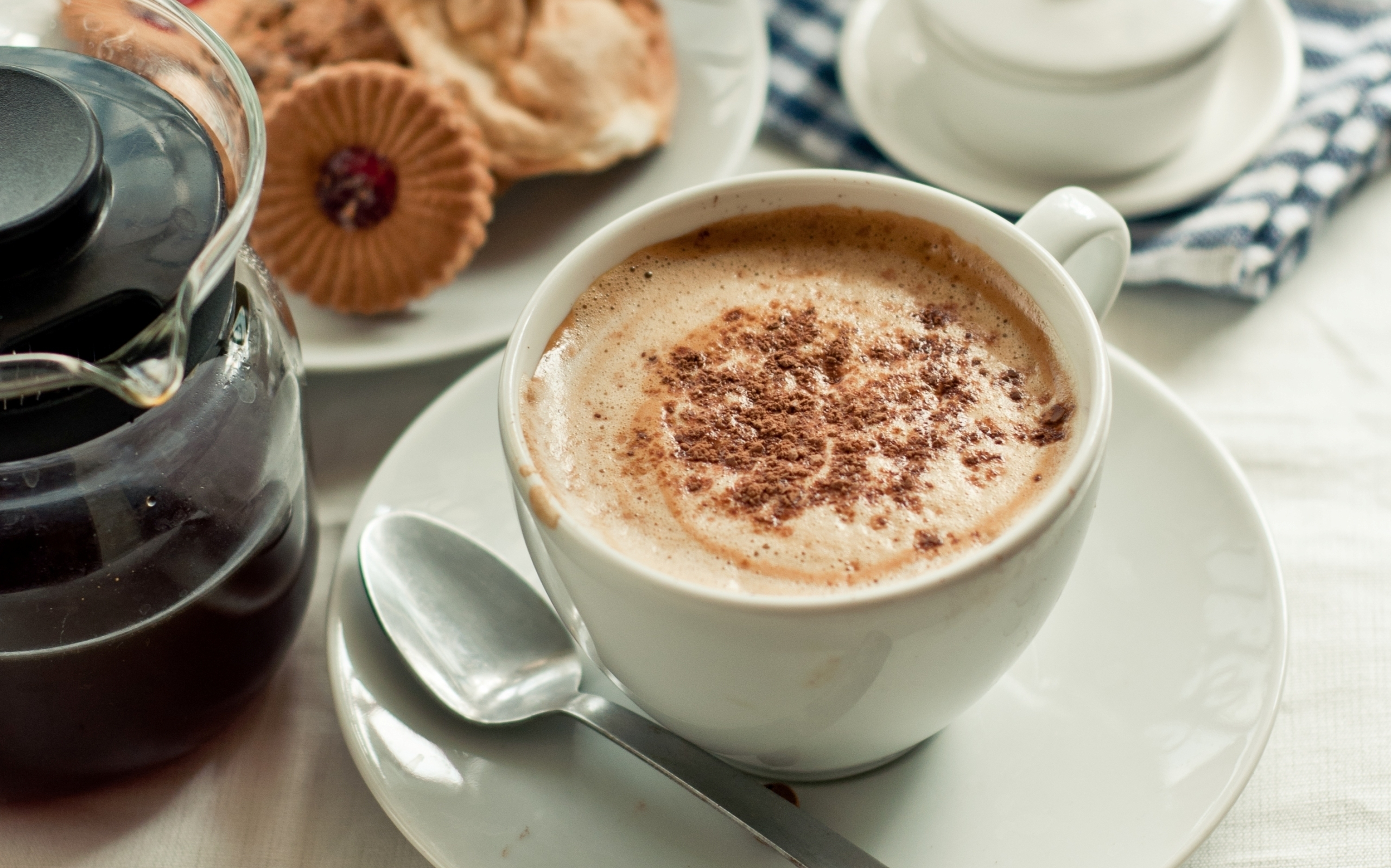 139066 download wallpaper Food, Cup, Coffee, Foam, Meerschaum, Cookies, Morning, Cinnamon screensavers and pictures for free