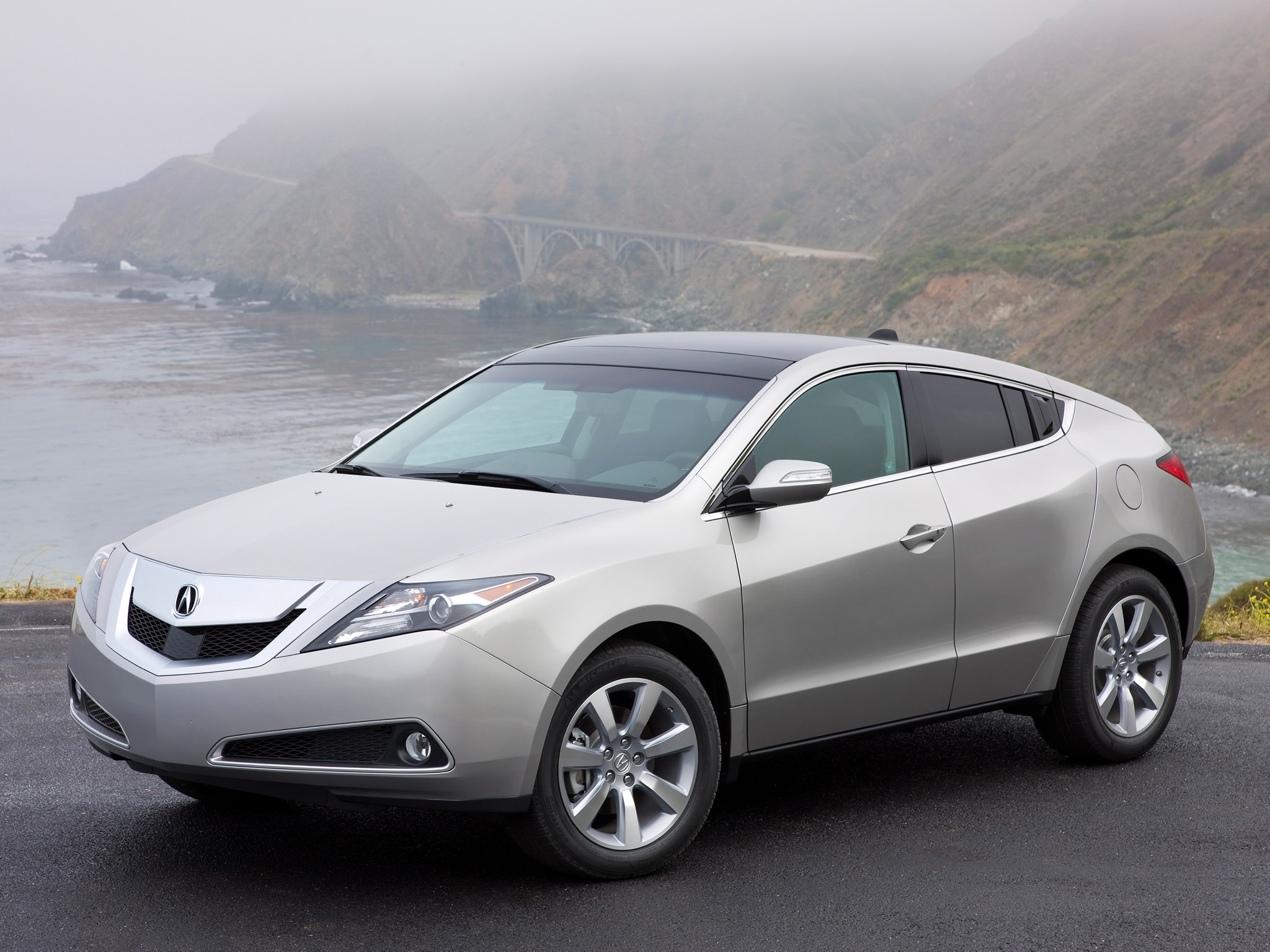 157698 download wallpaper Cars, Acura, Zdx, 2009, Silver Metallic, Side View, Style, Auto, Akura, Fog, Sea, Bridge, Mountains screensavers and pictures for free