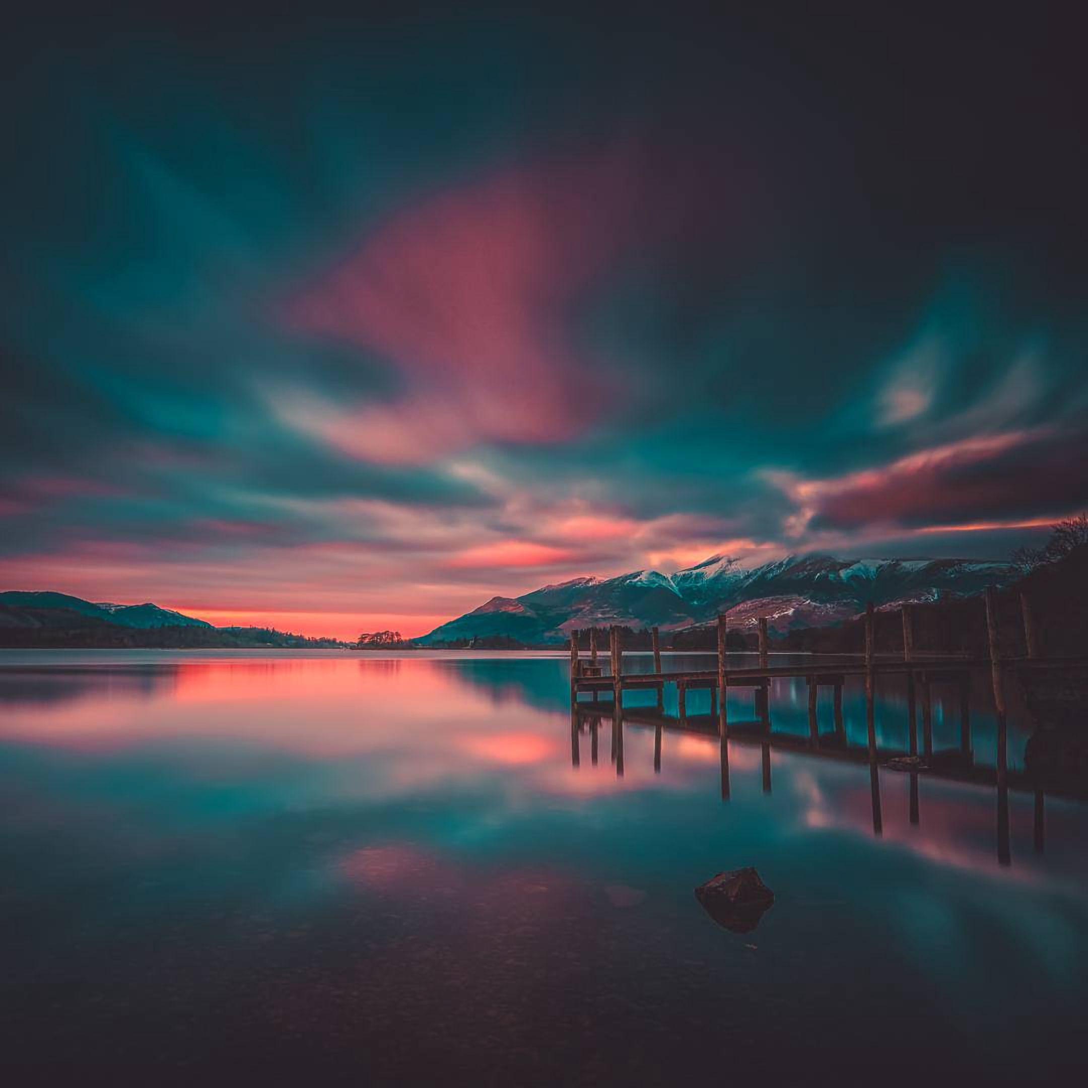 105799 Заставки и Обои Озеро на телефон. Скачать Озеро, Фотошоп, Природа, Закат, Горы, Пирс картинки бесплатно