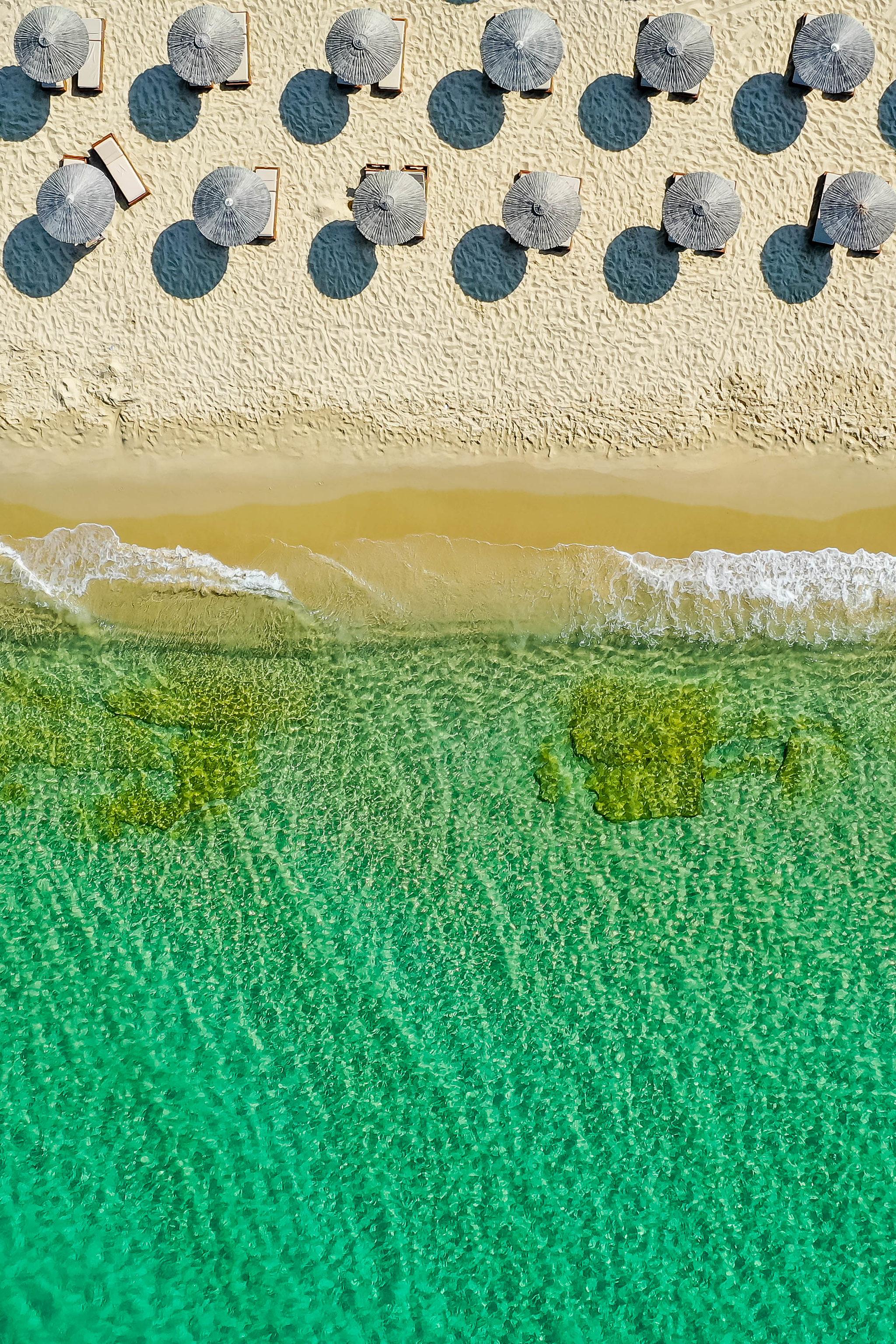 142421壁紙のダウンロード自然, 傘, ビーチ, 上から見る, 海, 海岸-スクリーンセーバーと写真を無料で