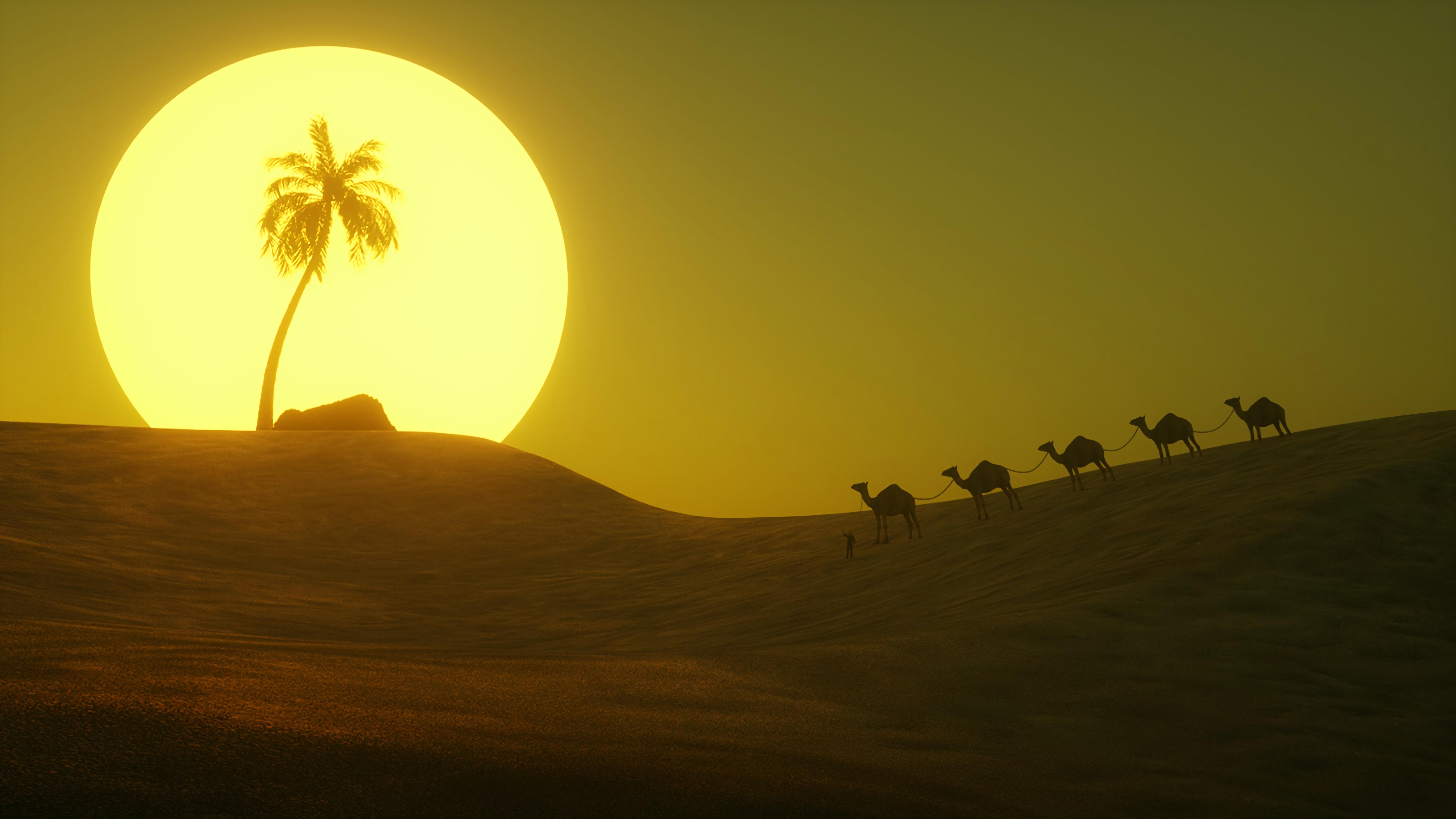 130081 Заставки и Обои Пустыня на телефон. Скачать Арт, Солнце, Пустыня, Пальма, Холм картинки бесплатно