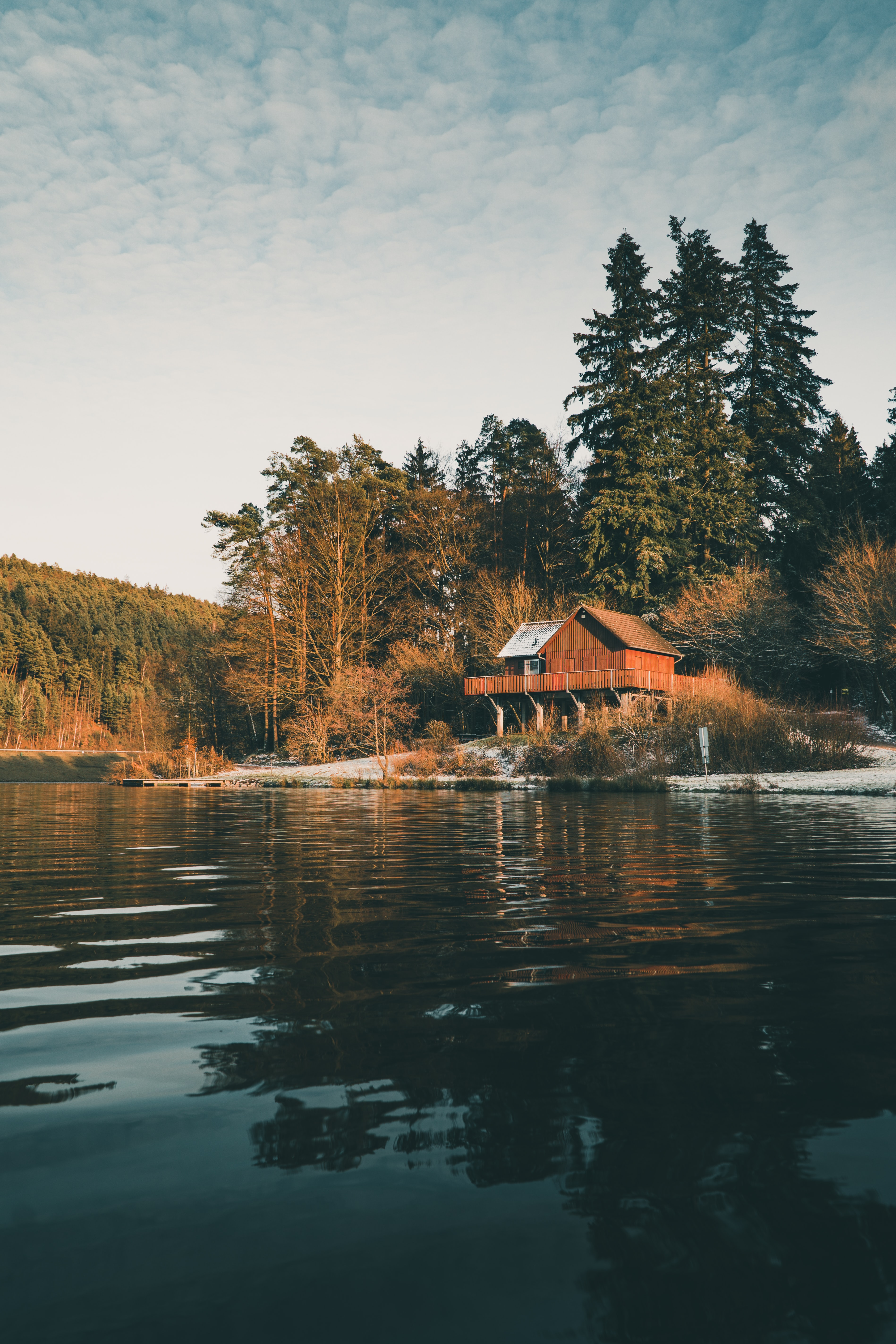 136690 free wallpaper 240x320 for phone, download images Nature, Water, Trees, Forest, House 240x320 for mobile