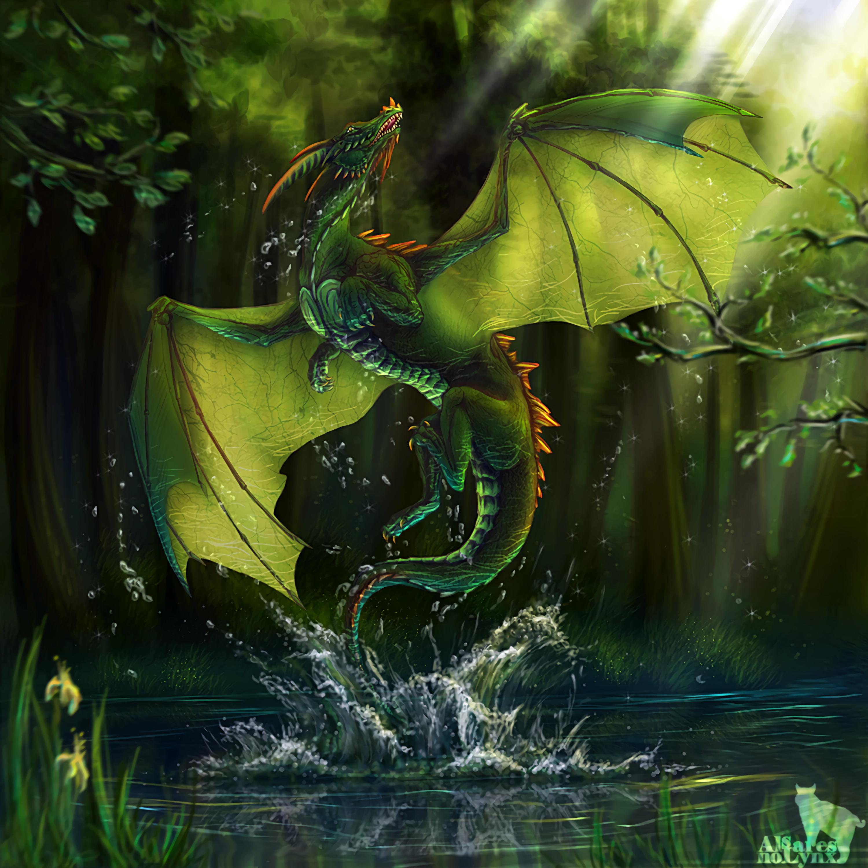 147455 скачать обои Вода, Дракон, Арт, Озеро, Лес - заставки и картинки бесплатно
