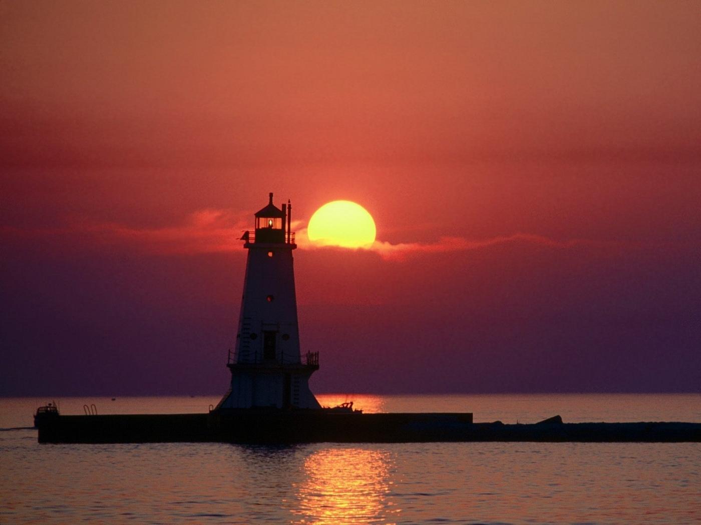 26365 免費下載壁紙 景观, 日落, 海, 灯塔 屏保和圖片