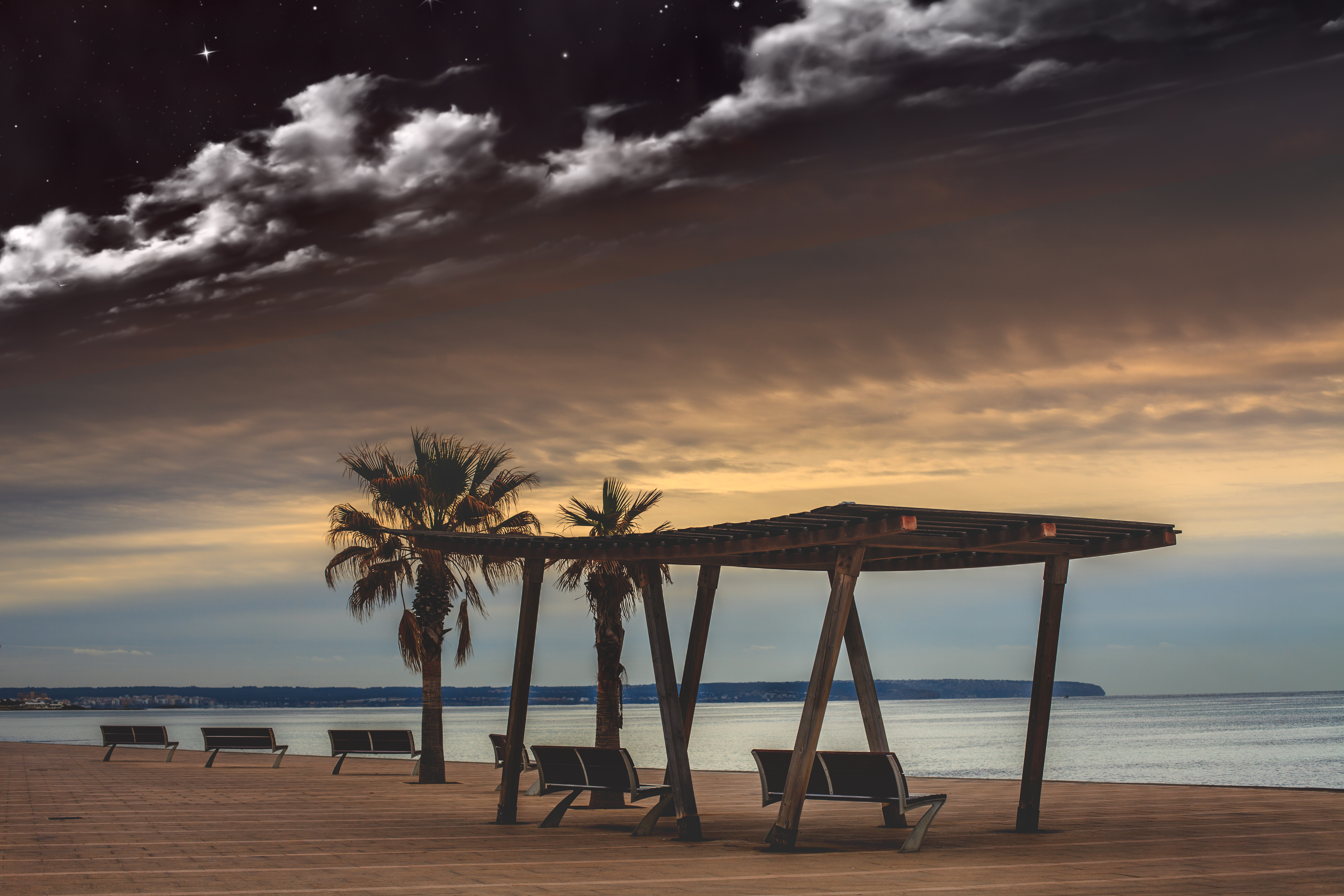 124749 download wallpaper Nature, Sea, Clouds, Palms, Starry Sky, Relaxation, Rest, Evening, Benches screensavers and pictures for free