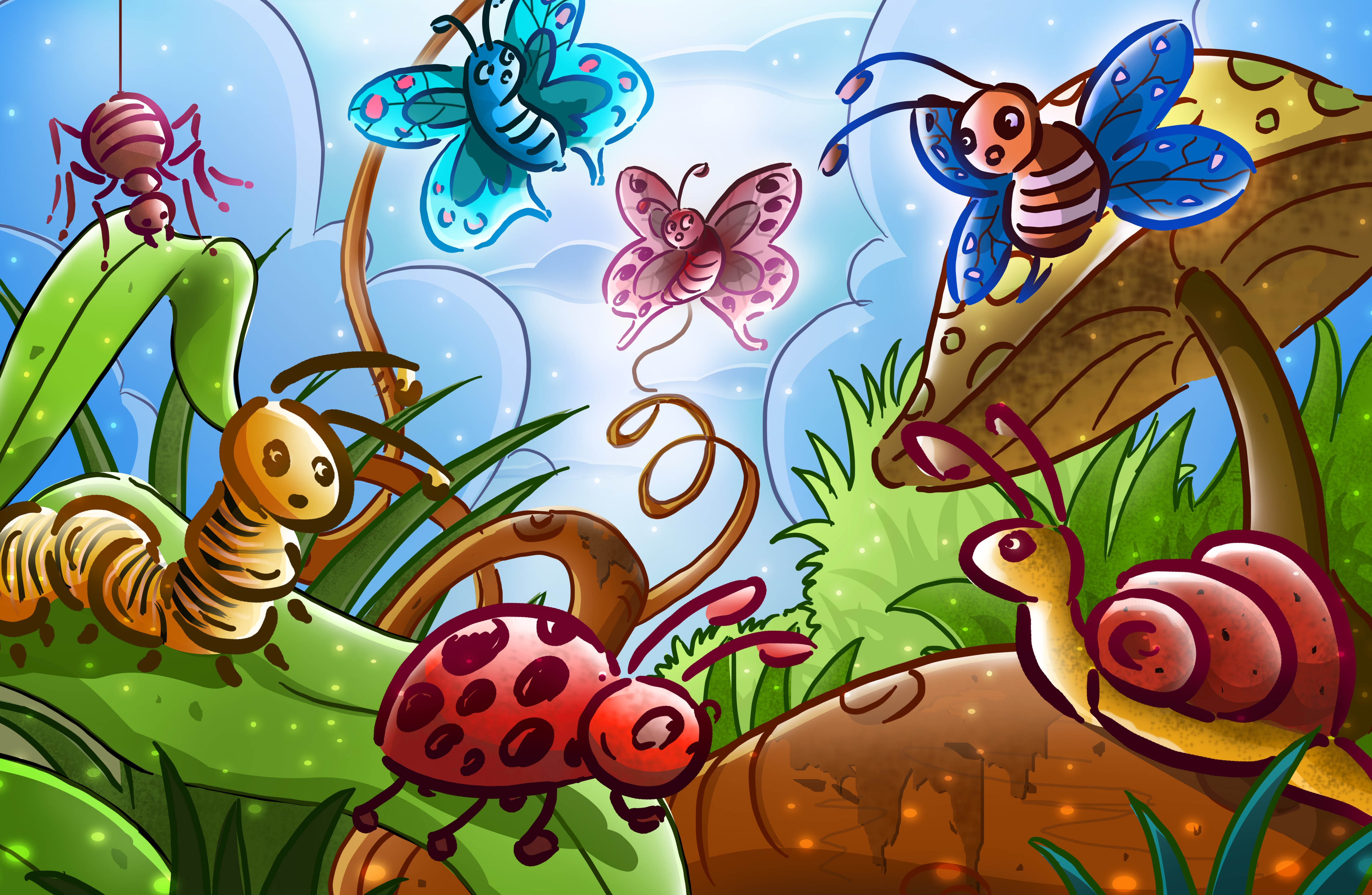 132872 download wallpaper Art, Butterflies, Bugs, Story, Fairy Tale, Spider, Insects screensavers and pictures for free