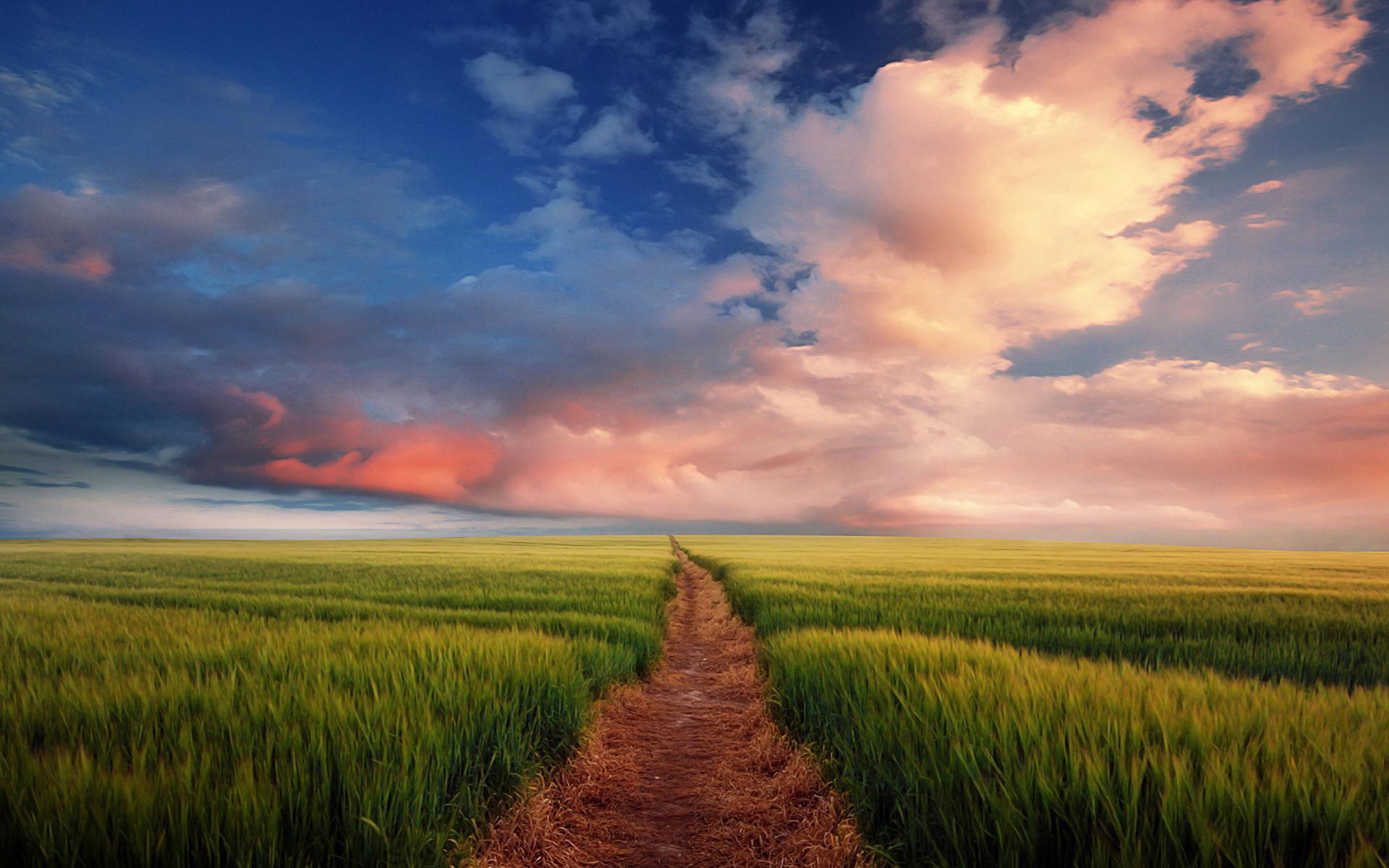 20674 скачать обои Пейзаж, Поля, Небо, Дороги, Облака - заставки и картинки бесплатно