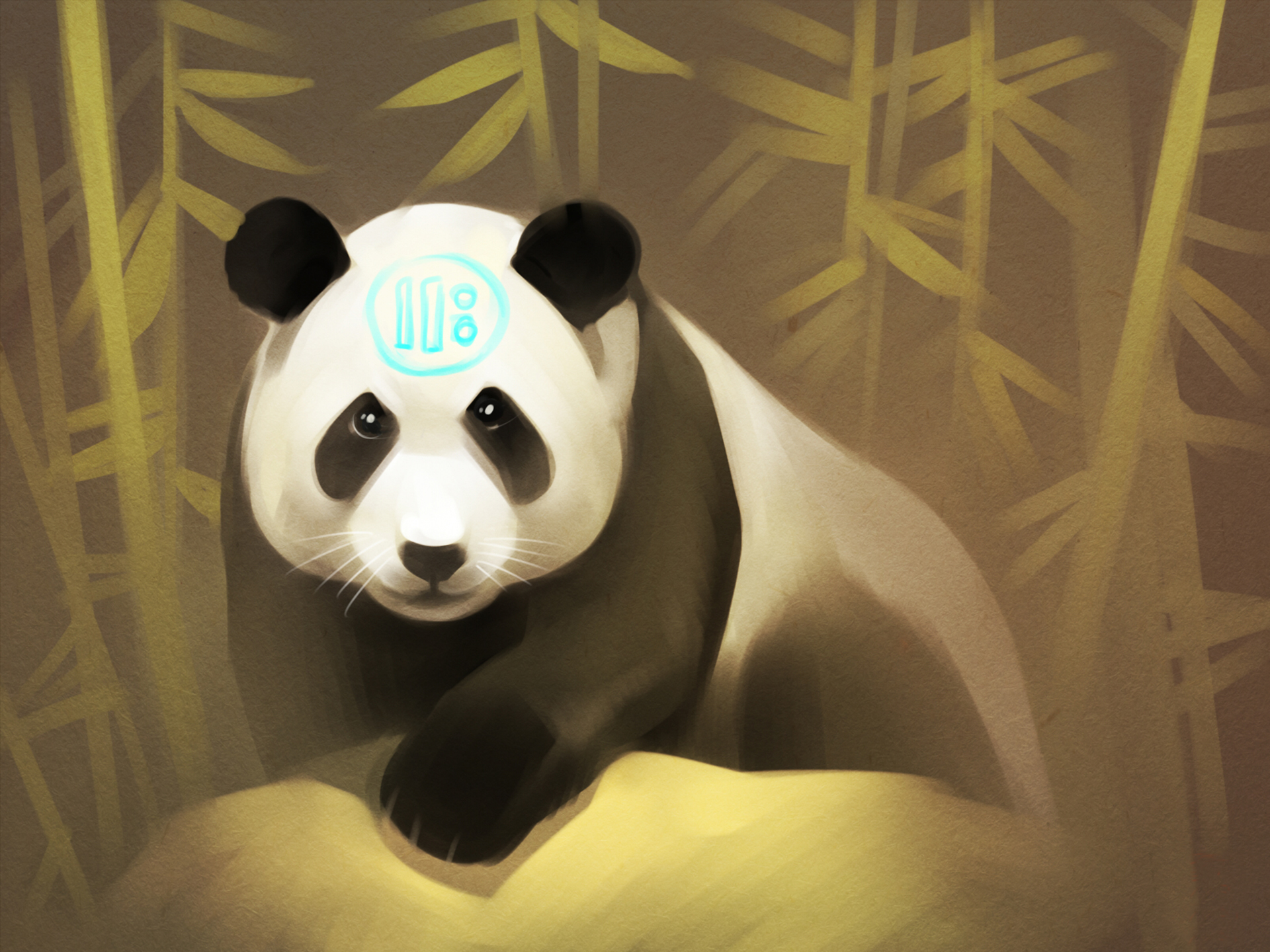 144539 download wallpaper Panda, Art, Bamboo screensavers and pictures for free