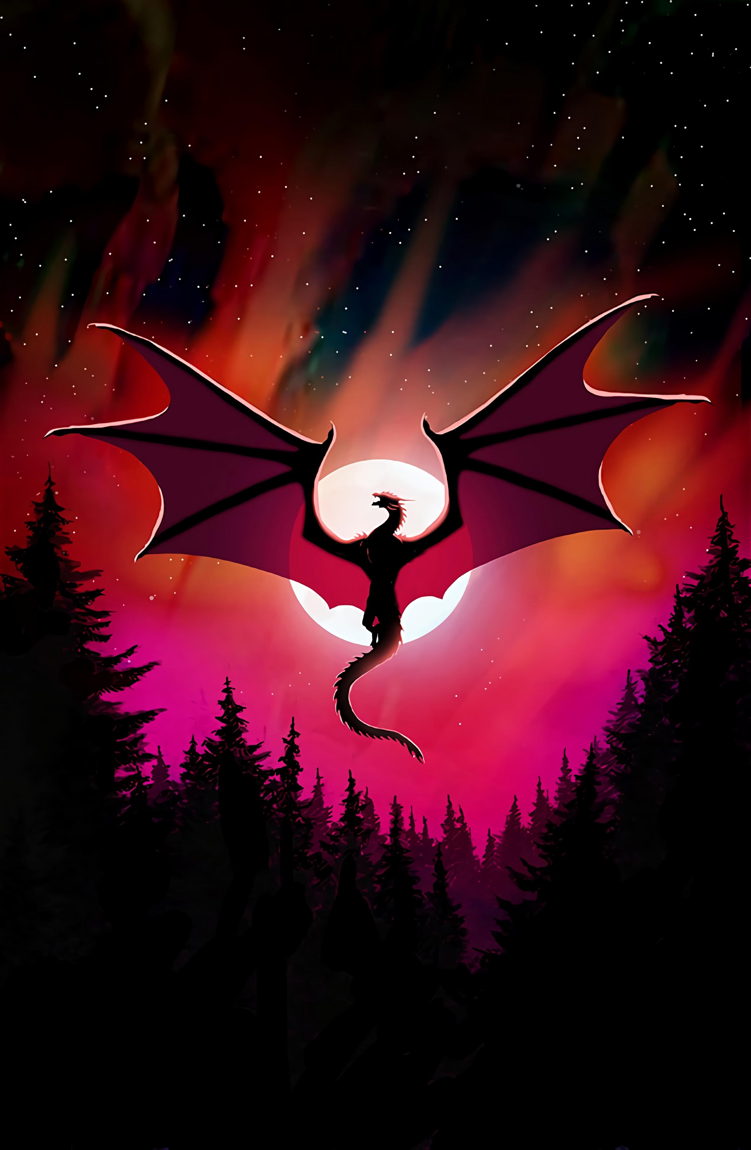 61787 скачать обои Дракон, Арт, Темный, Ночь, Луна - заставки и картинки бесплатно