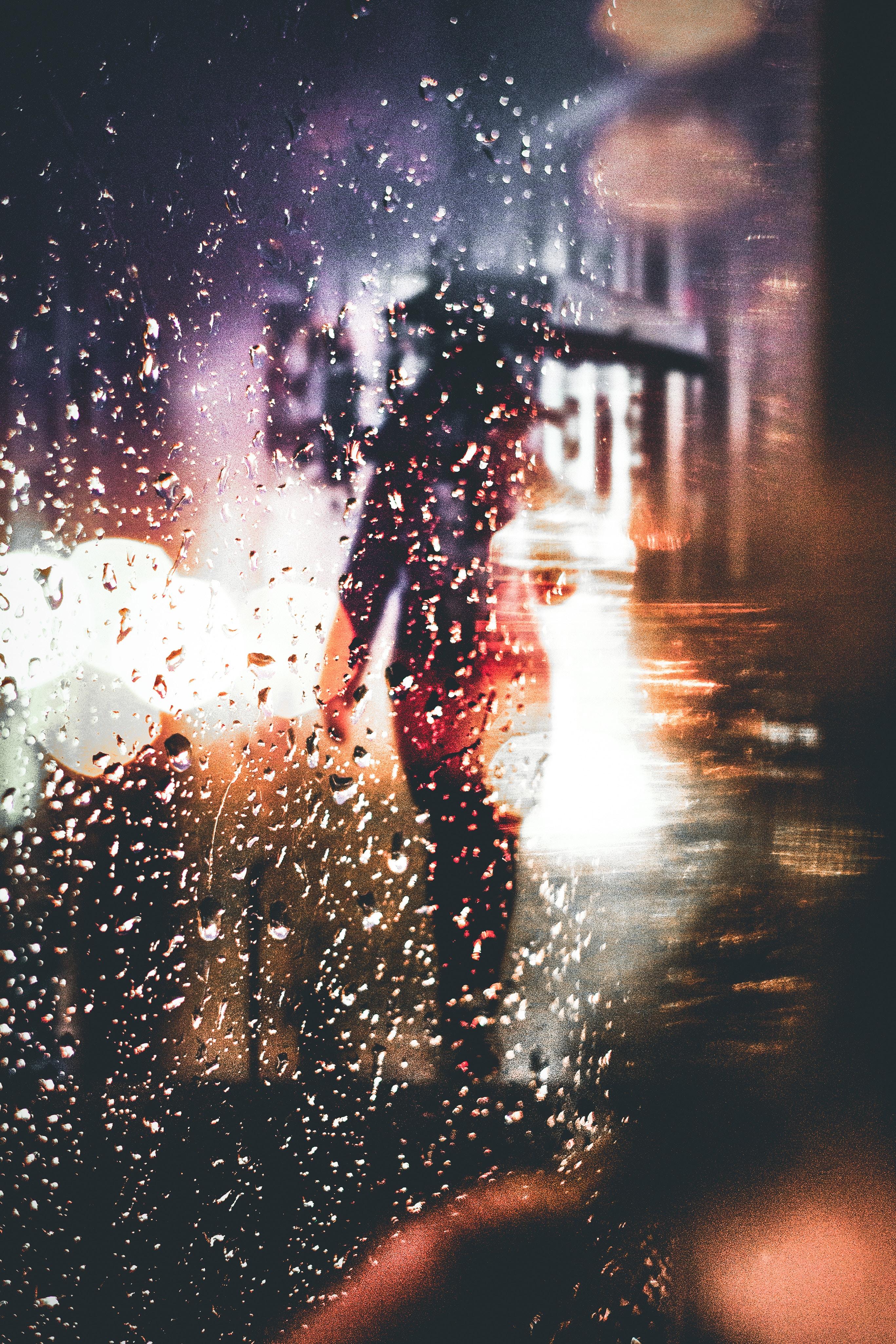 97041 скачать обои Дождь, Капли, Макро, Силуэт, Размытость - заставки и картинки бесплатно