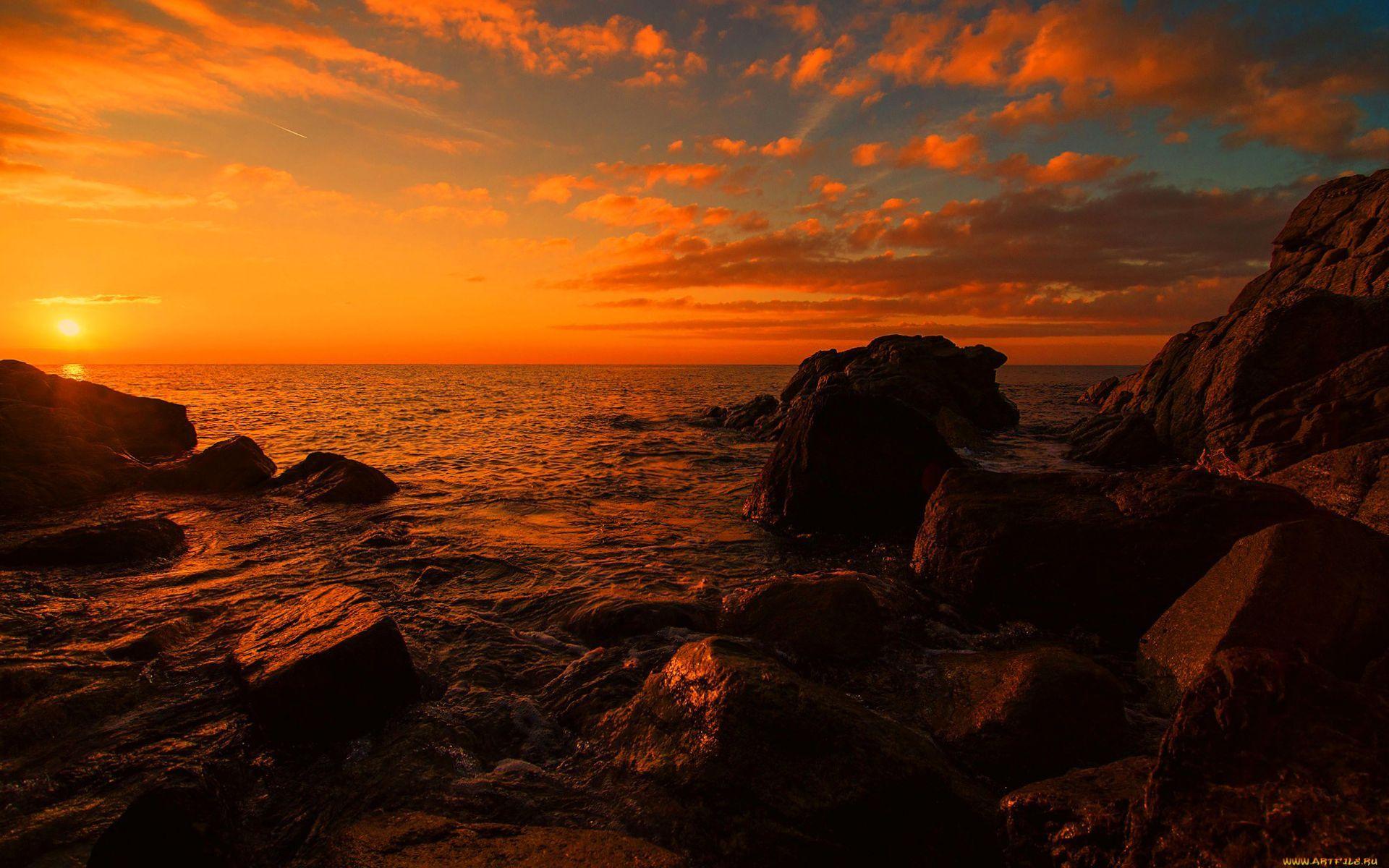24992 скачать обои Пейзаж, Закат, Камни, Море, Облака, Волны - заставки и картинки бесплатно