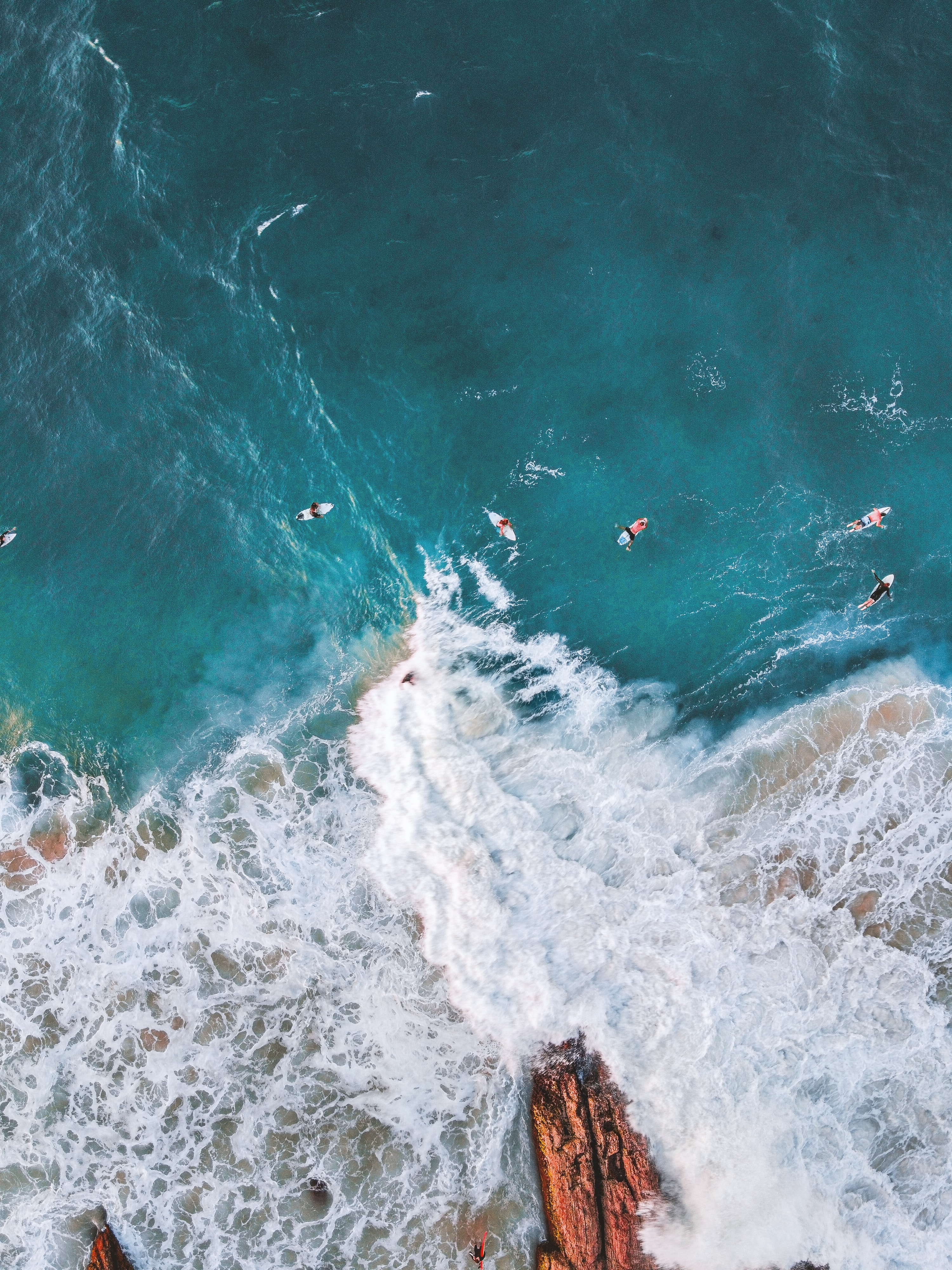 128656 download wallpaper Nature, Serfing, Ocean, Rocks, View From Above screensavers and pictures for free