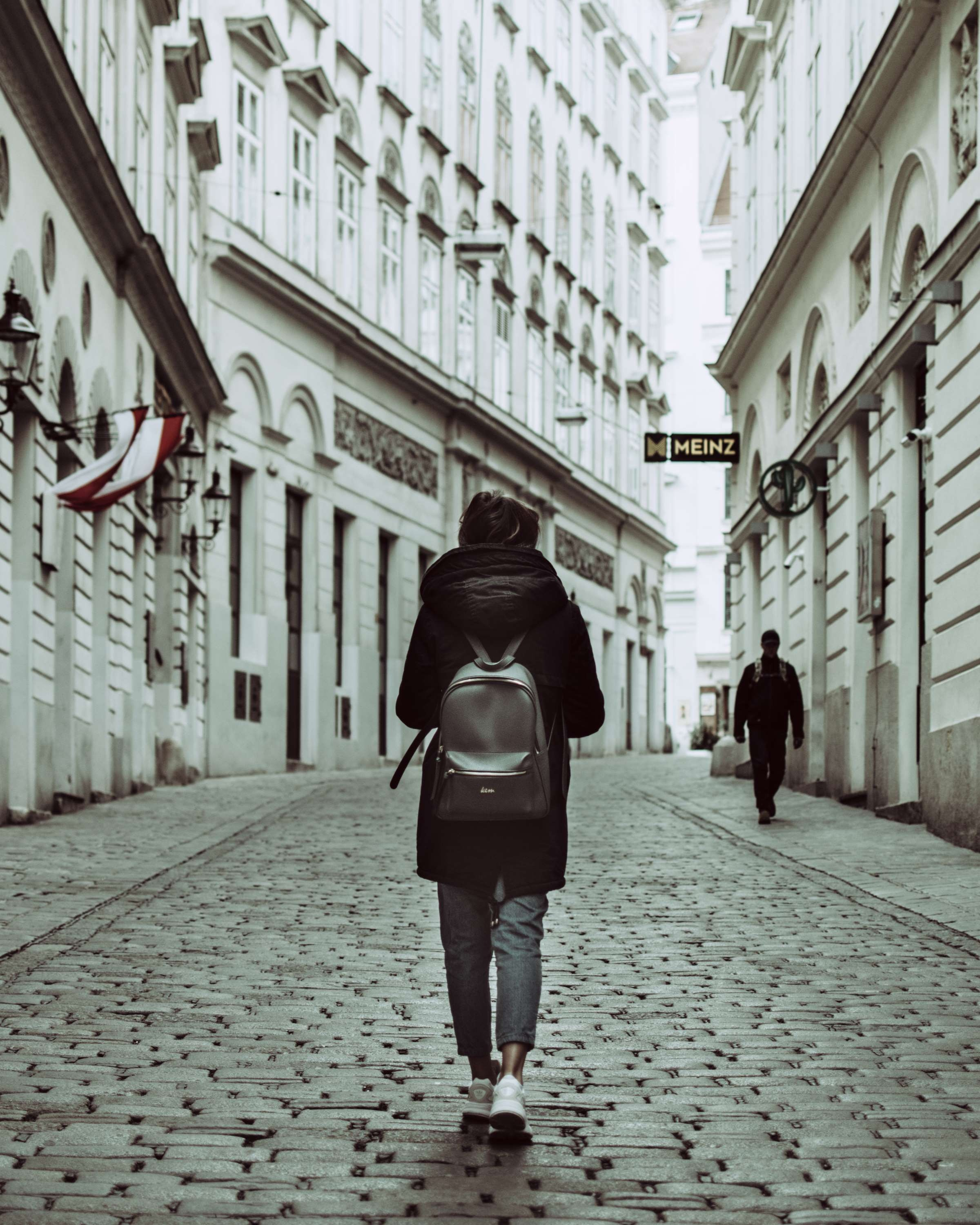 153947 Screensavers and Wallpapers Style for phone. Download City, Miscellanea, Miscellaneous, Style, Human, Person, Street, Backpack, Rucksack pictures for free