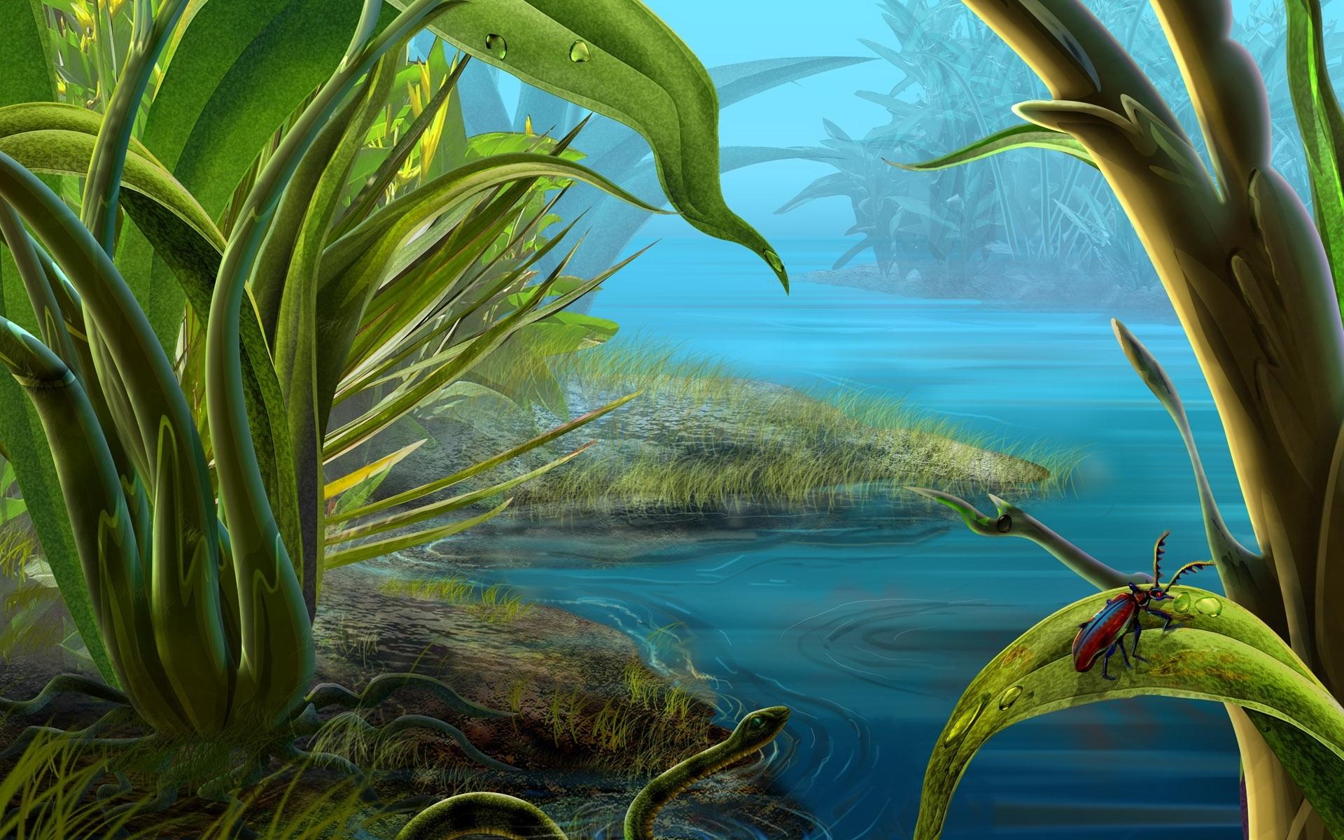 1310 descargar fondo de pantalla Plantas, Paisaje, Agua, Insectos, Arte: protectores de pantalla e imágenes gratis