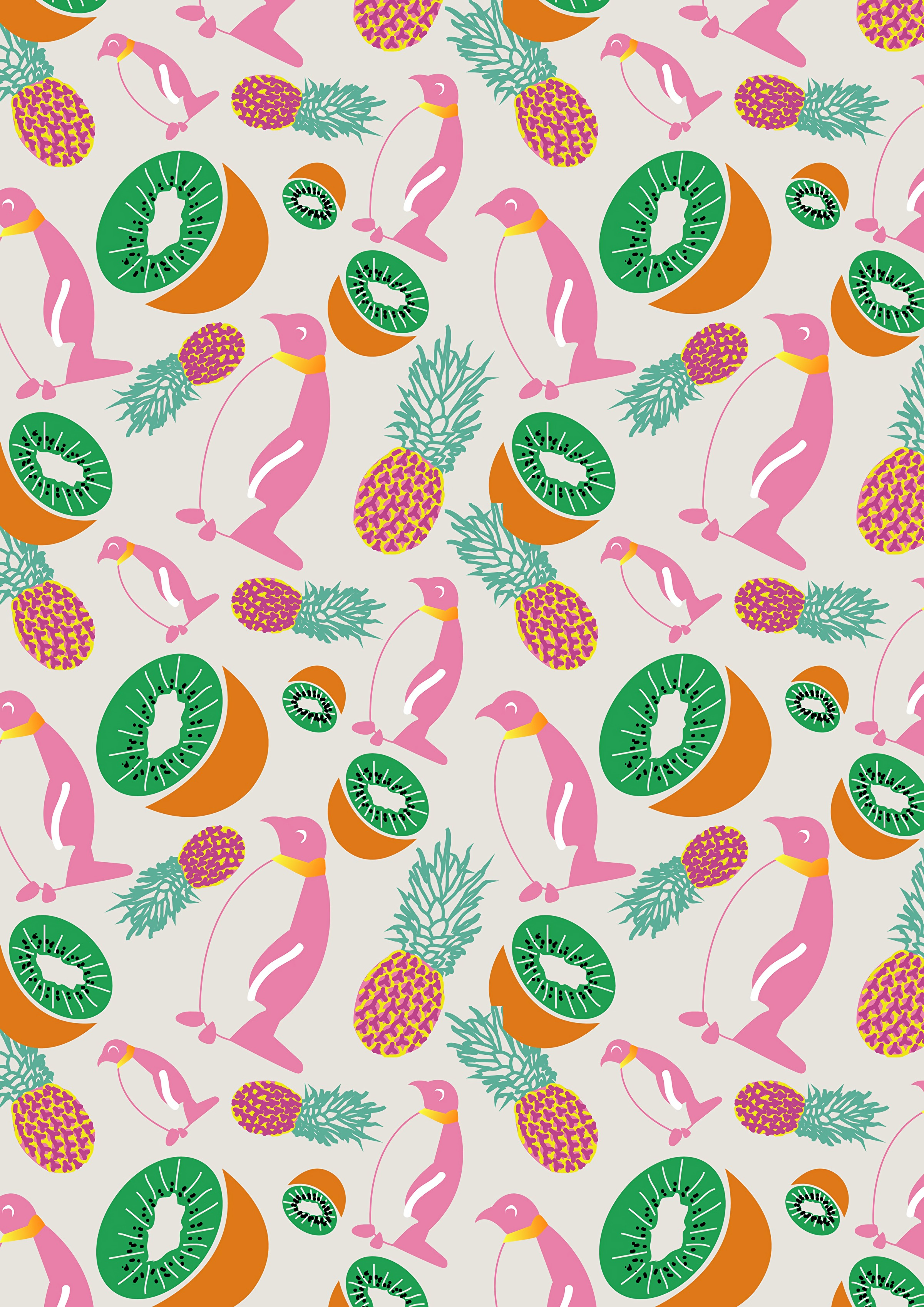51755 download wallpaper Pinguins, Art, Kiwi, Pineapples, Pattern, Texture, Textures screensavers and pictures for free
