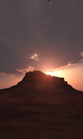 100105 скачать обои Природа, Холм, Небо, Закат, Облака, Горы - заставки и картинки бесплатно