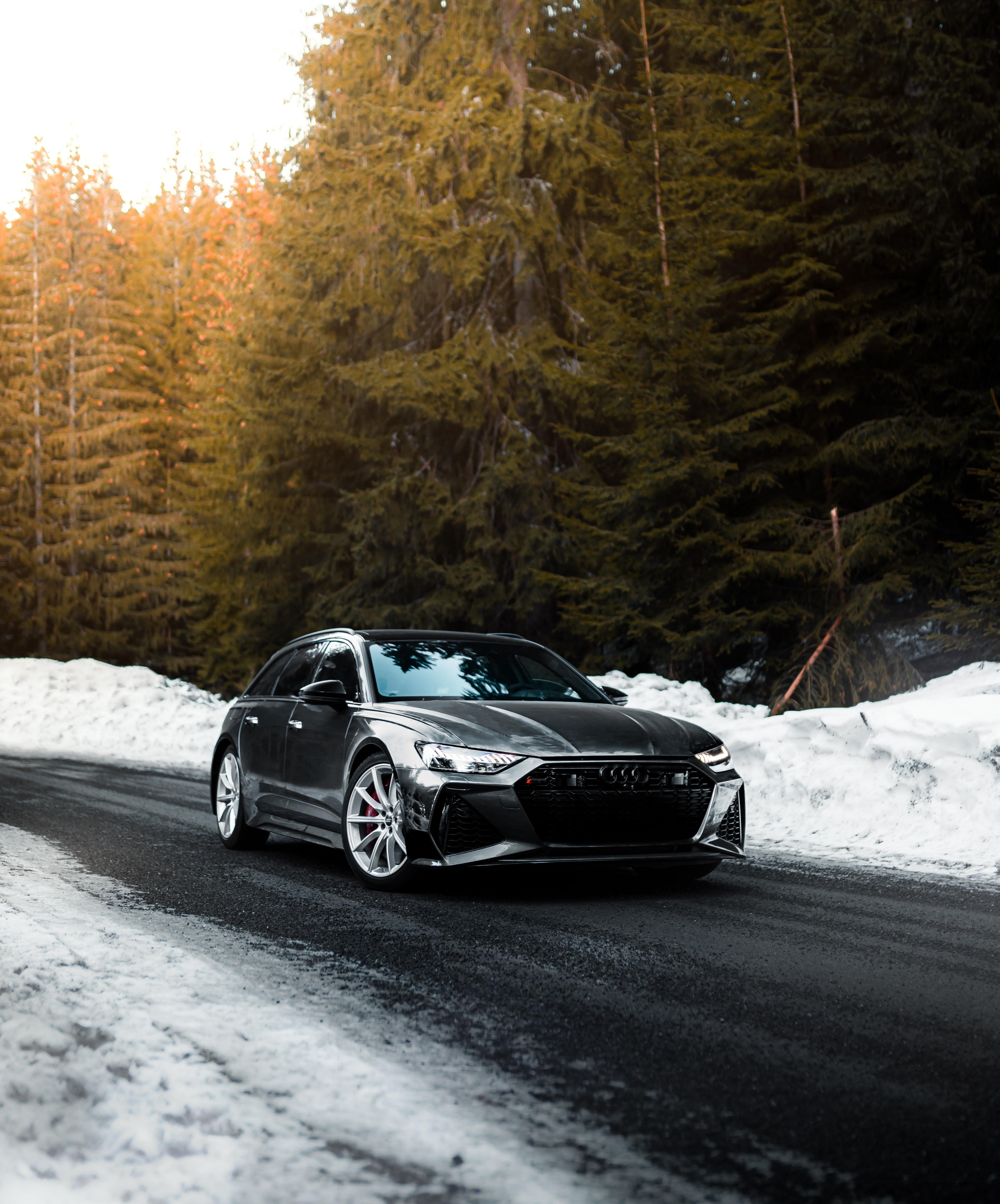 148244 скачать обои Ауди (Audi), Зима, Снег, Тачки (Cars), Дорога, Автомобиль, Серый, Скорость - заставки и картинки бесплатно