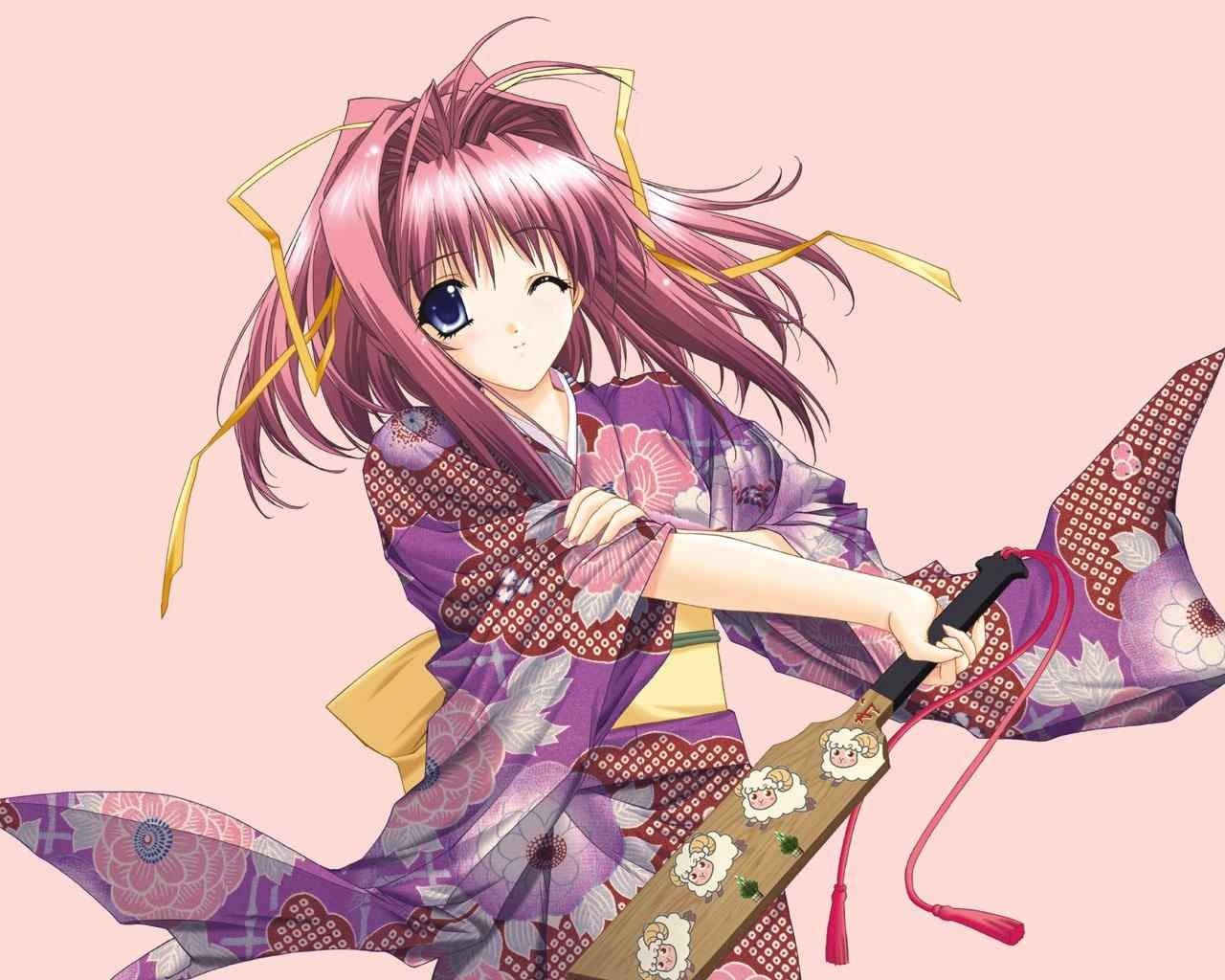 134038壁紙のダウンロード日本製アニメ, 女の子, ヨーク, コケット, 着物, ファン, 扇-スクリーンセーバーと写真を無料で