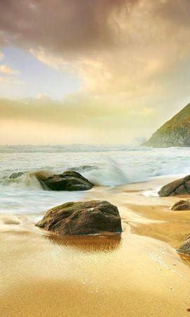 24015 скачать обои Пейзаж, Закат, Камни, Море, Пляж - заставки и картинки бесплатно