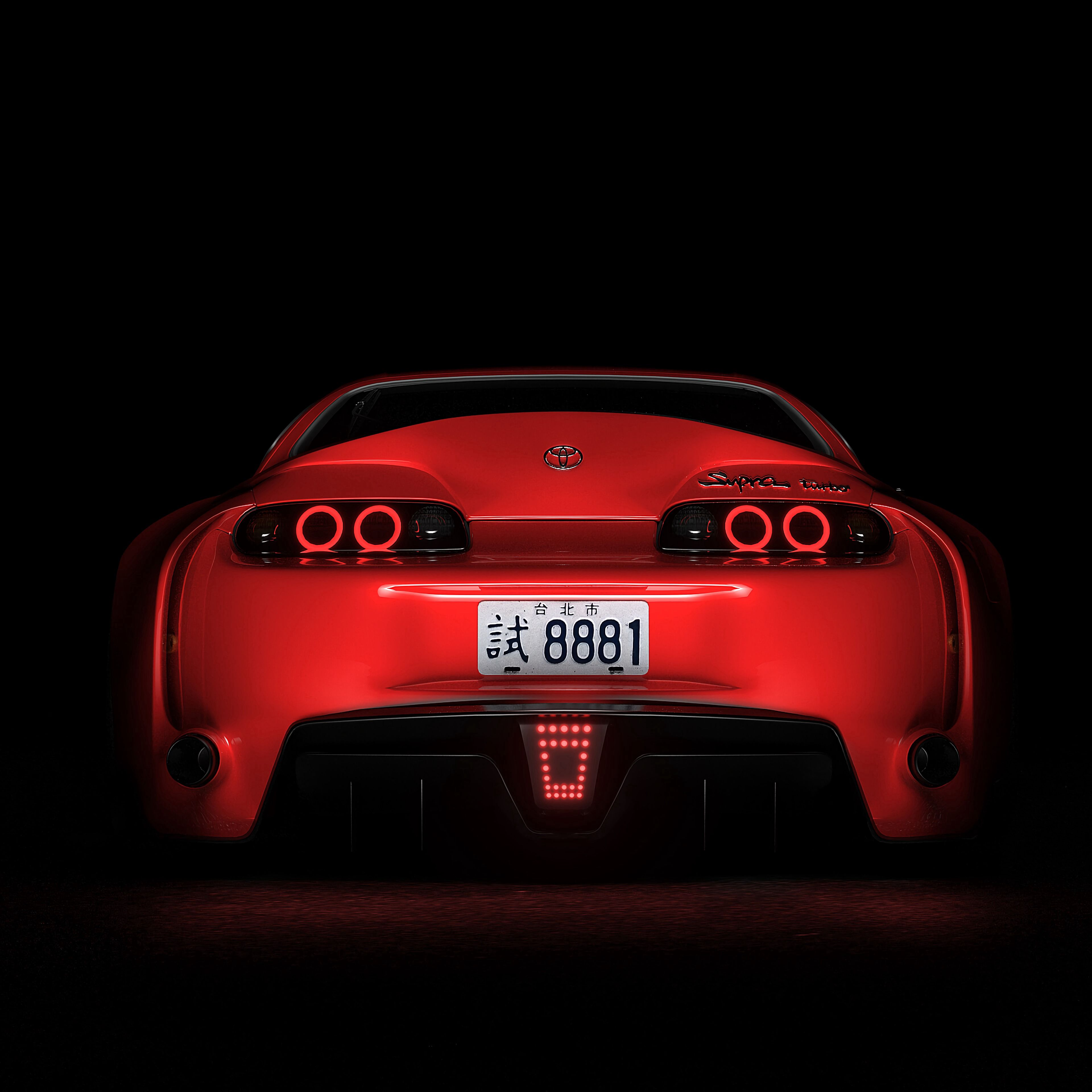 85232 download wallpaper Cars, Toyota Supra, Toyota, Sports Car, Sports, Back View, Rear View, Dark, Backlight, Illumination screensavers and pictures for free