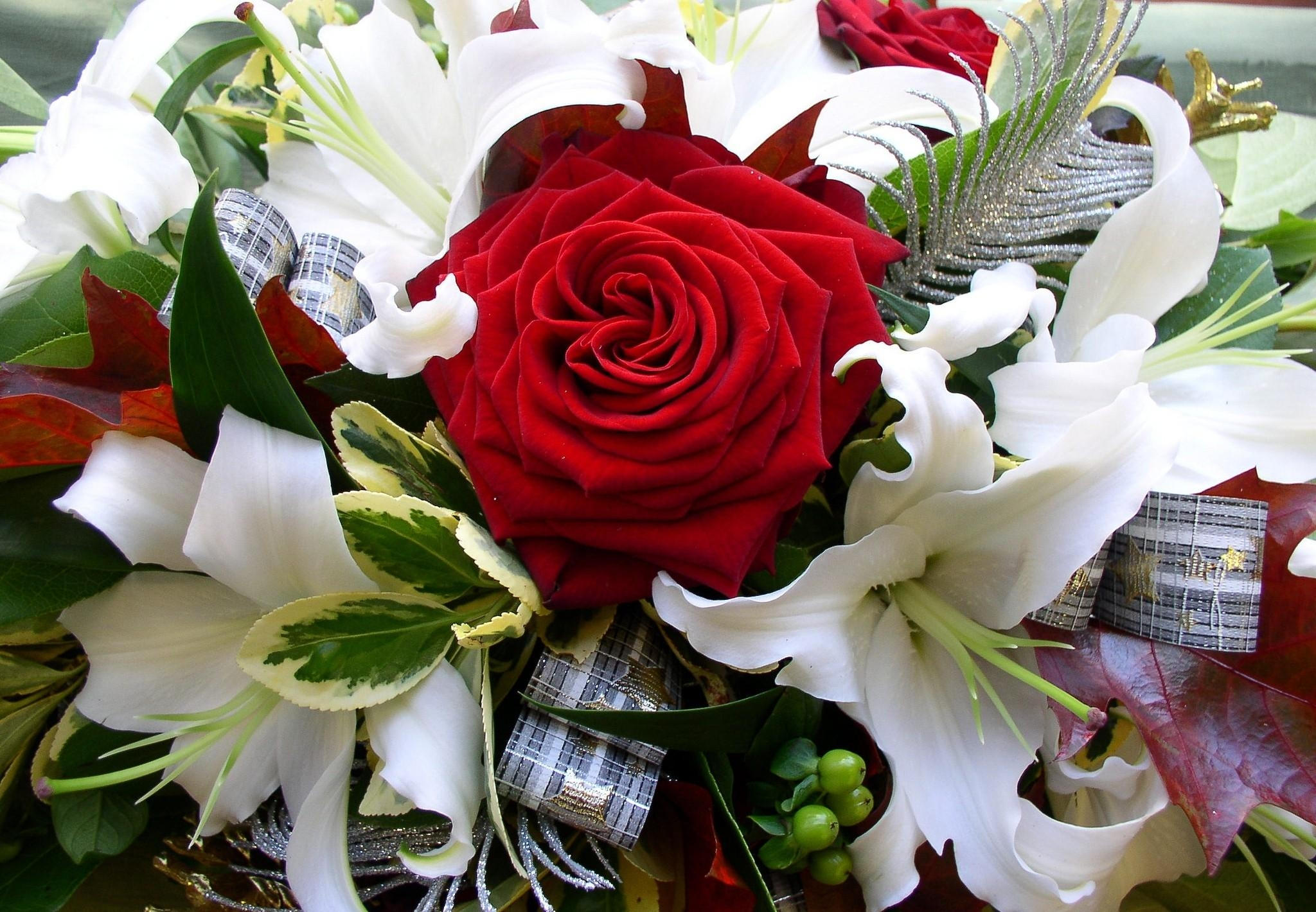 105350 download wallpaper Flowers, Roses, Decorations, Lilies, Bouquet, Tape screensavers and pictures for free