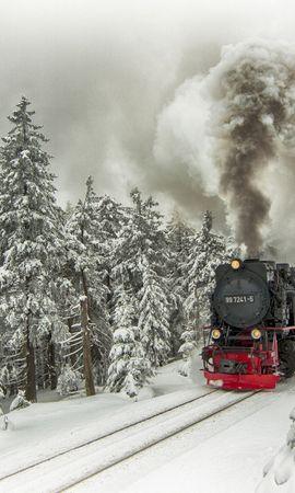 21903 descargar fondo de pantalla Transporte, Paisaje, Invierno, Nieve, Trenes: protectores de pantalla e imágenes gratis