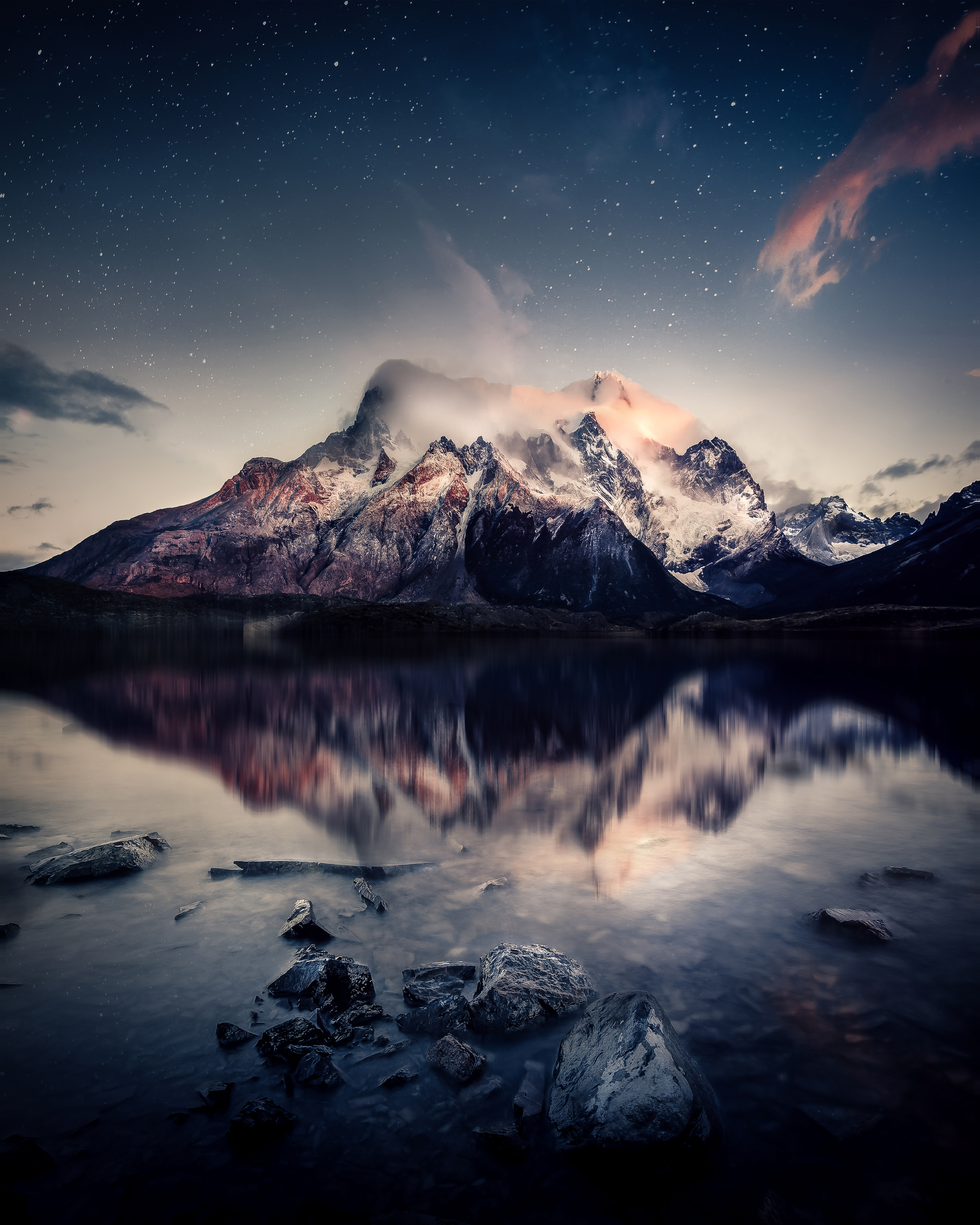 60980 download wallpaper Nature, Lake, Sky, Reflection, Stones, Mountains screensavers and pictures for free