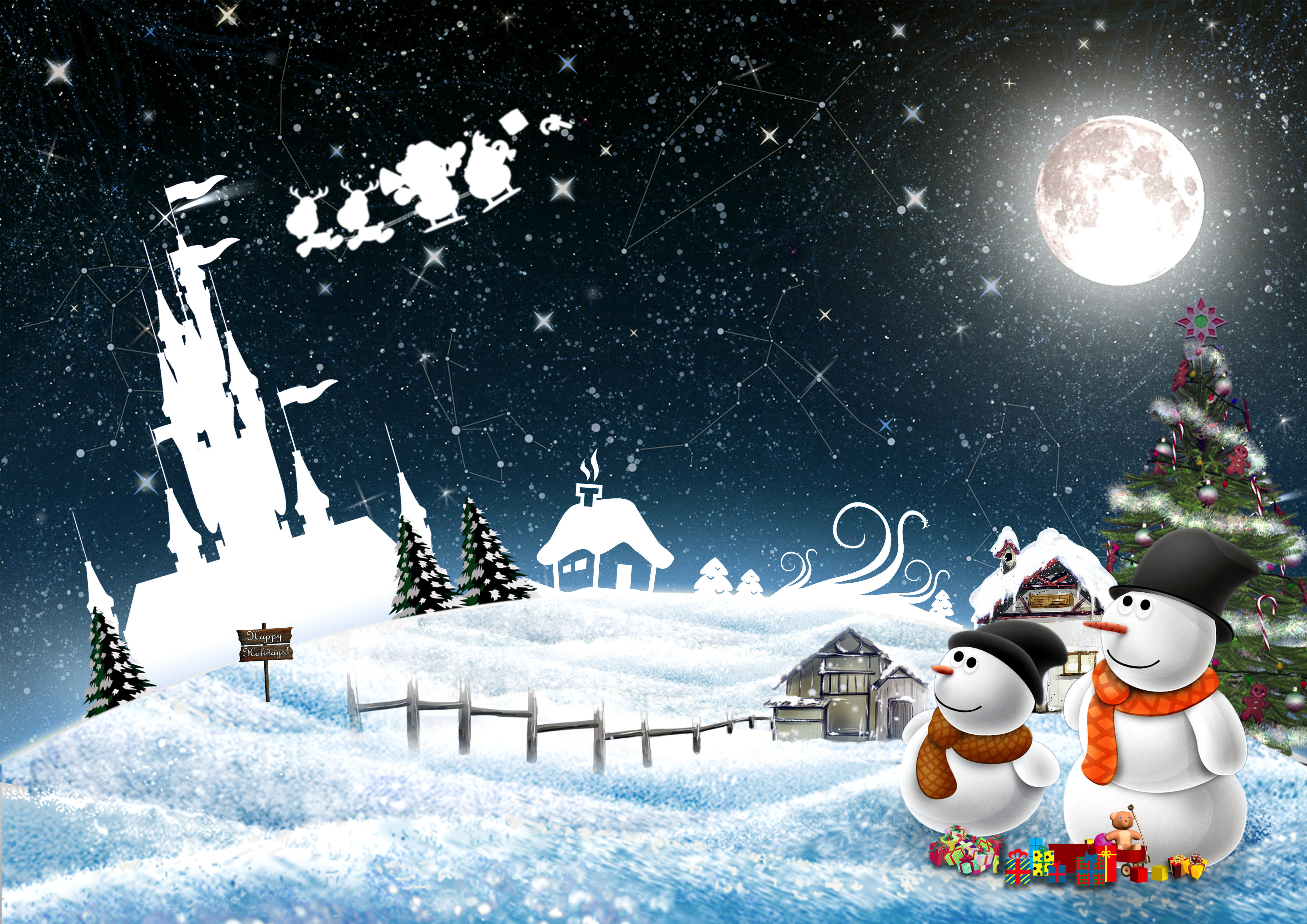 98985 download wallpaper Holidays, New Year, Night, Snowman, Christmas, Holiday, Postcard screensavers and pictures for free