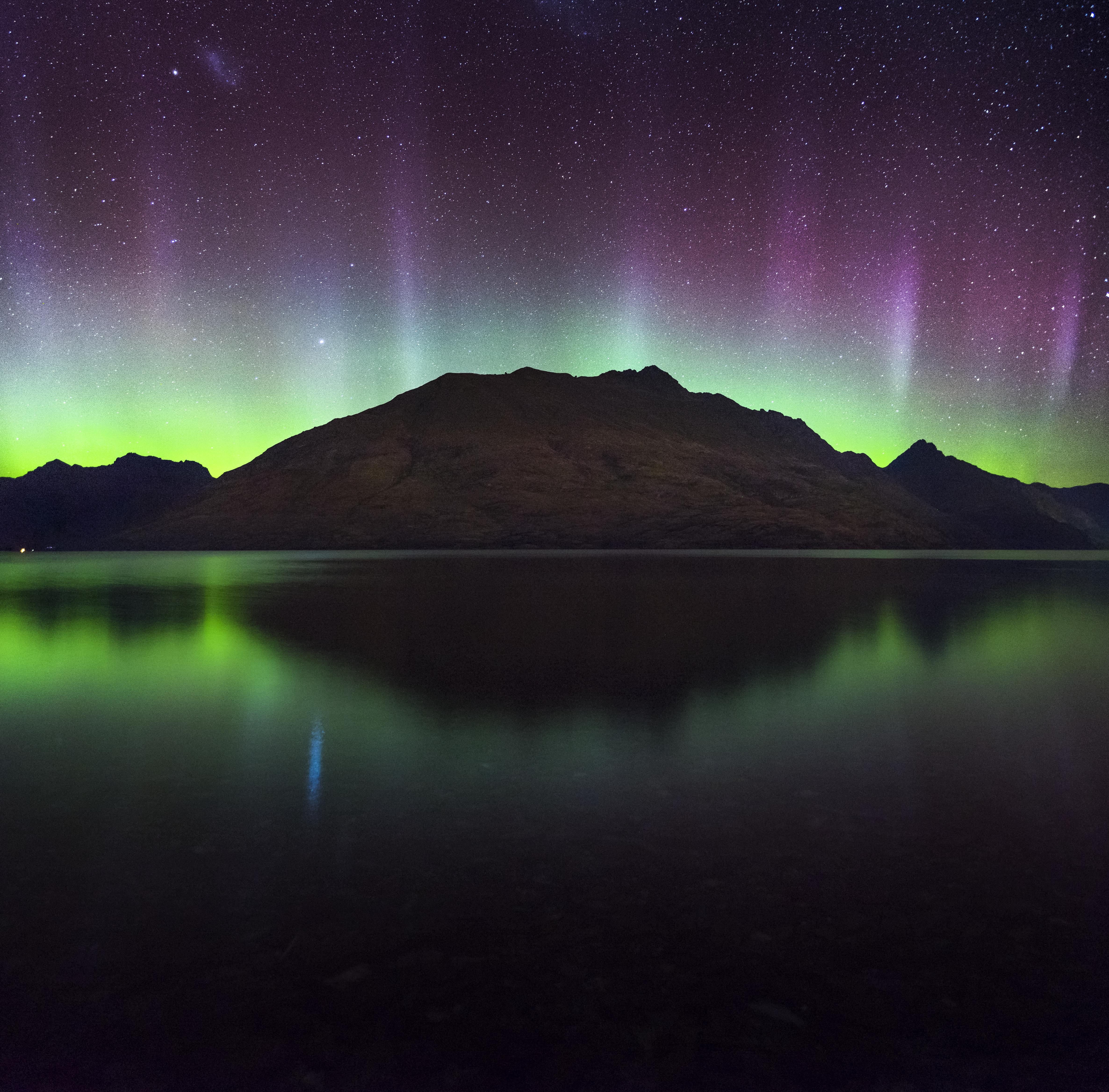 140483 Screensavers and Wallpapers New Zealand for phone. Download Nature, Mountain, Lake, New Zealand, Northern Lights, Aurora Borealis, Aurora, Queenstown pictures for free