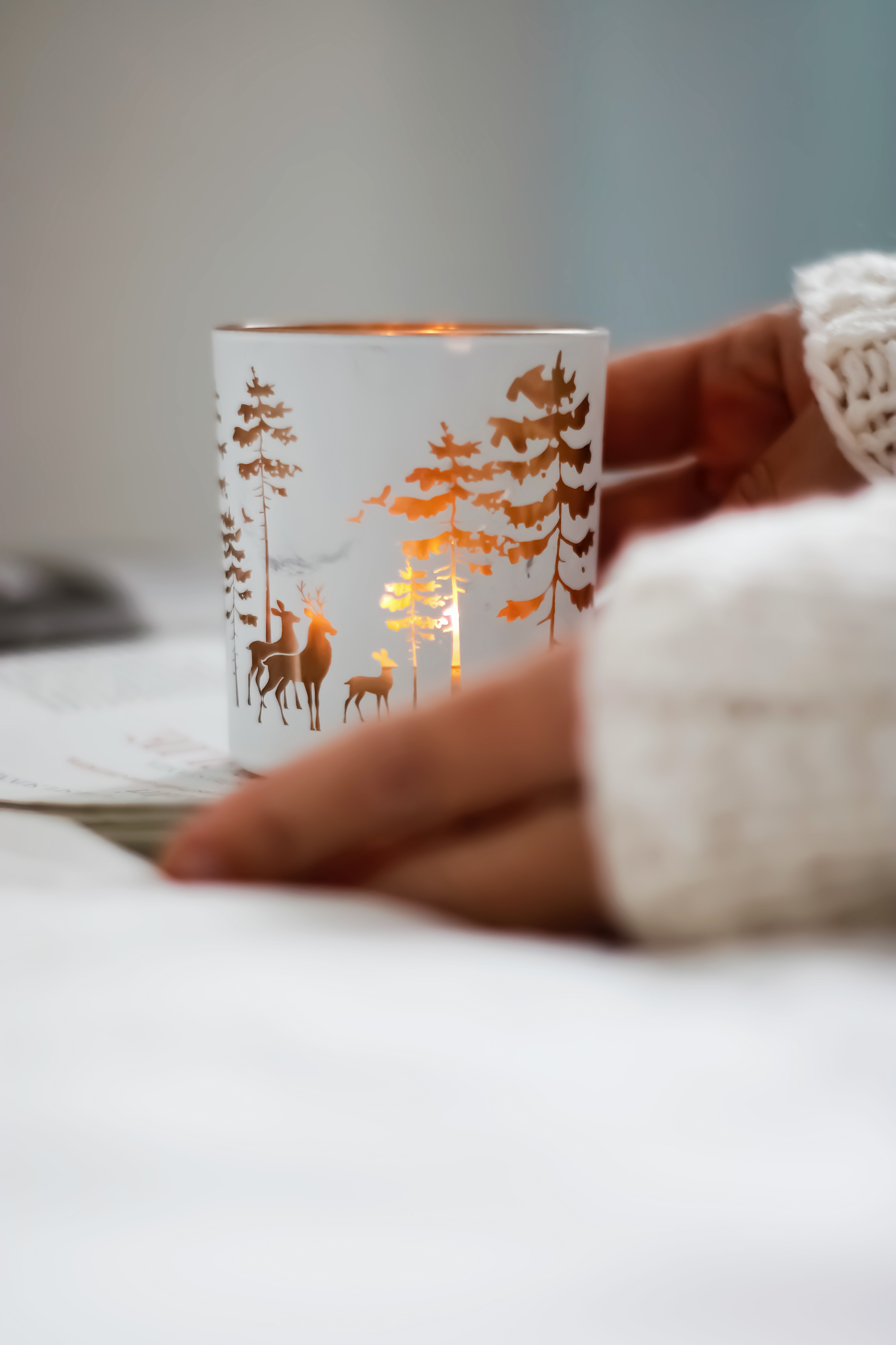 58934 download wallpaper Miscellanea, Miscellaneous, Cup, Mug, Deers, Trees, Decoration screensavers and pictures for free