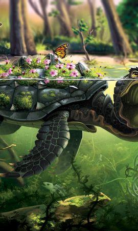 65359 descargar fondo de pantalla Tortuga, Mariposas, Arte, Agua: protectores de pantalla e imágenes gratis