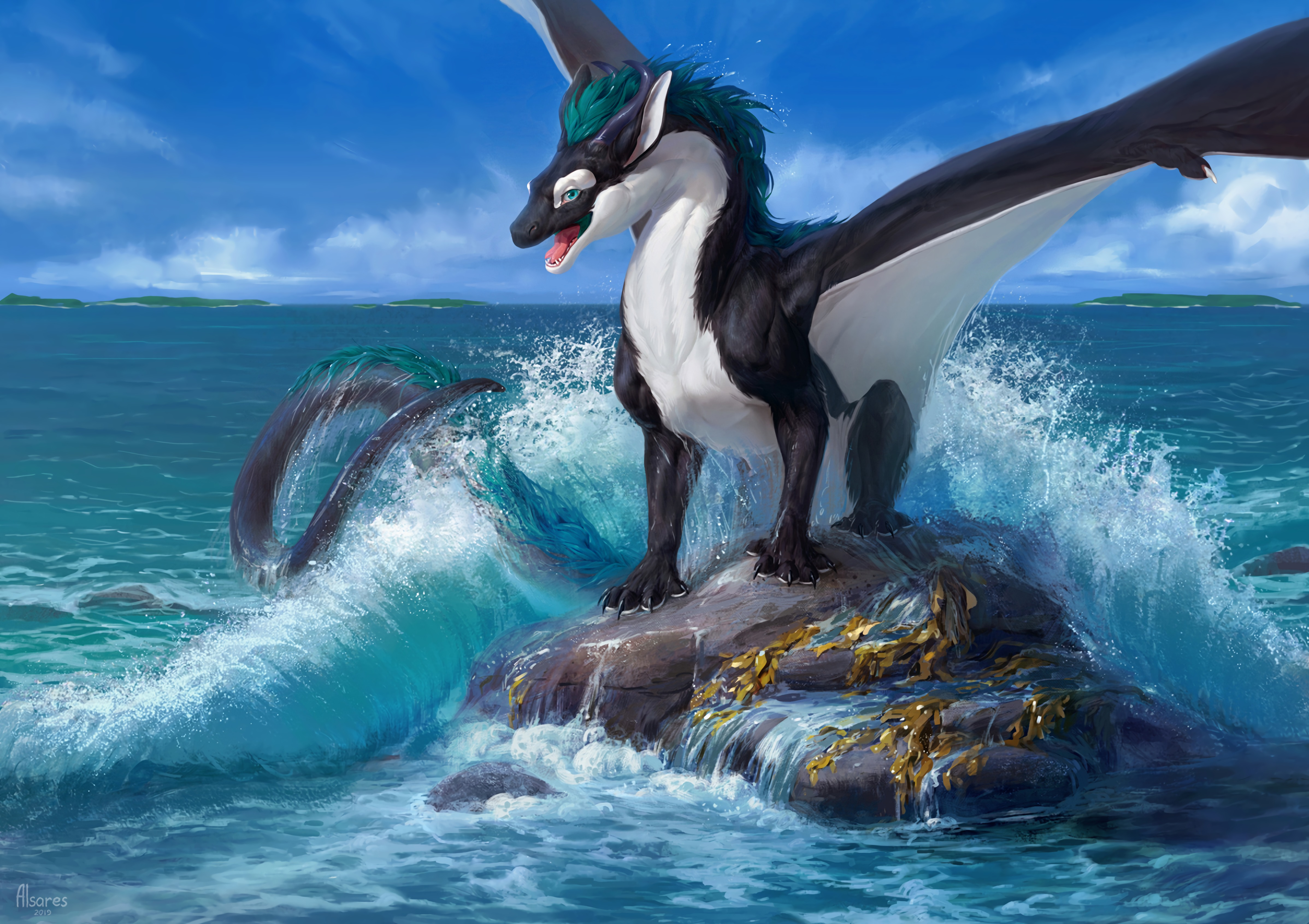 81571 download wallpaper Dragon, Sea, Rock, Wave, Art screensavers and pictures for free