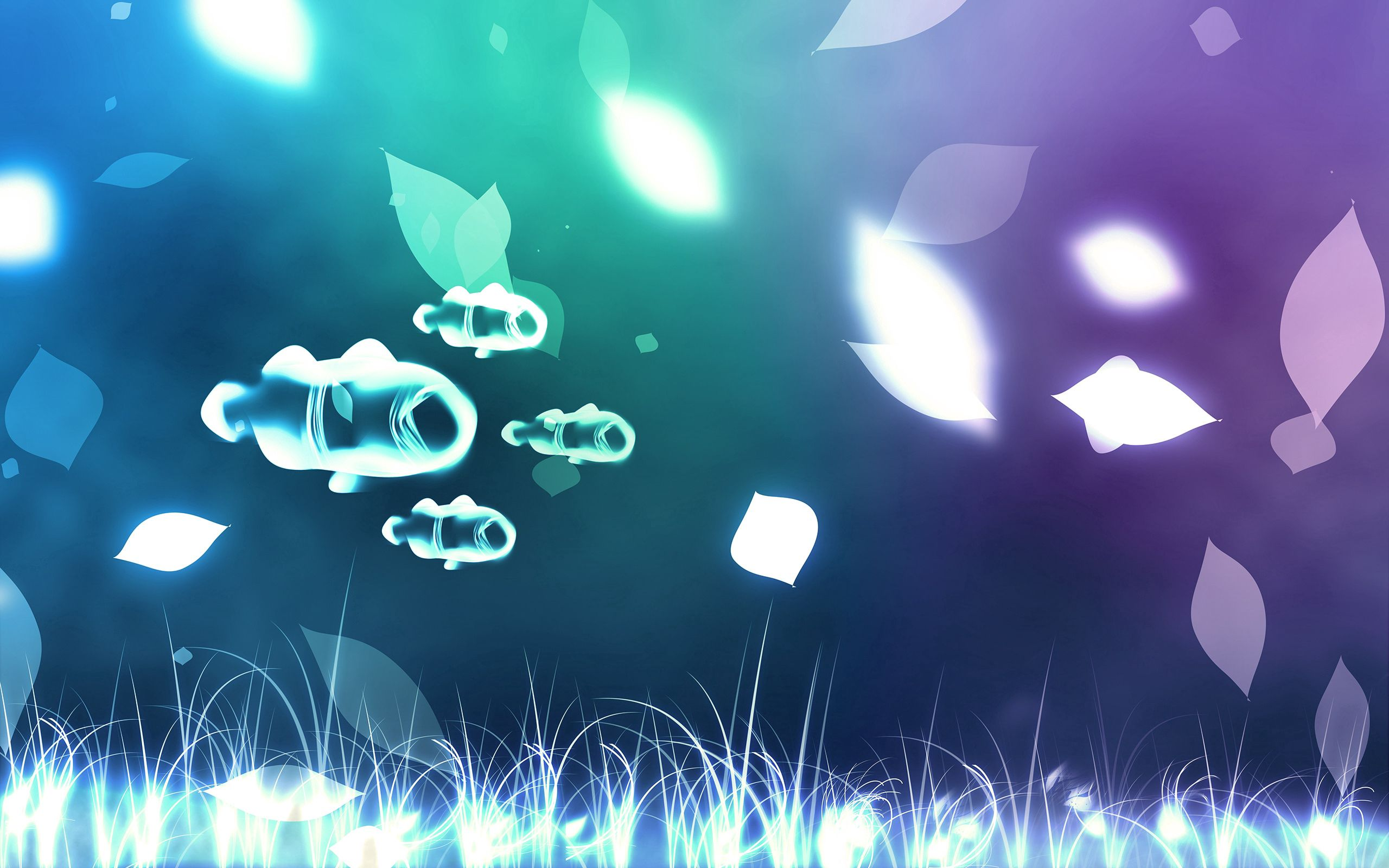 141703 download wallpaper Abstract, Glare, Shine, Light, Bright, Stains, Spots, Fishes screensavers and pictures for free