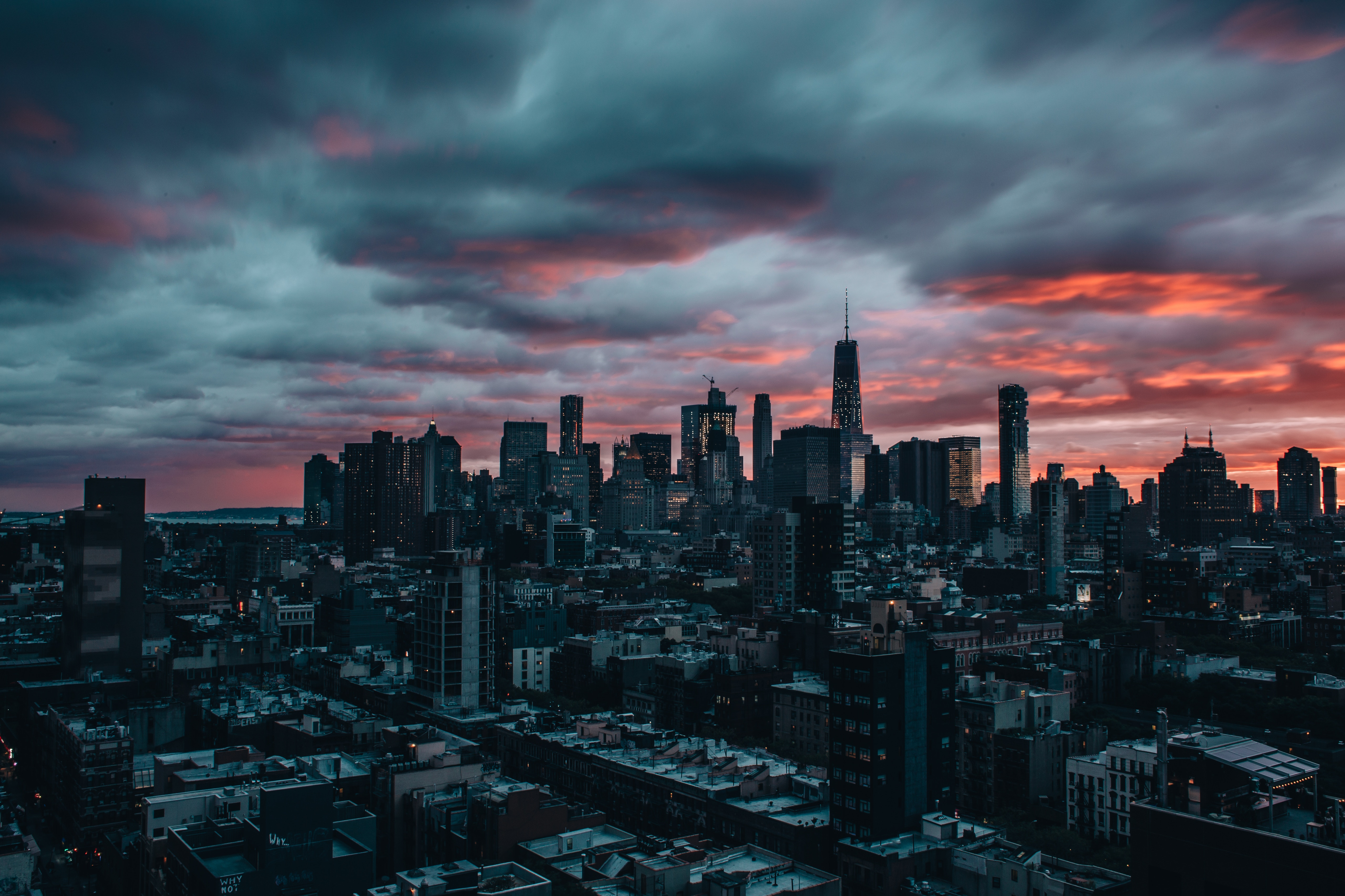 109019 download wallpaper Skyscrapers, Dusk, Twilight, City, Clouds, New York, Cities screensavers and pictures for free