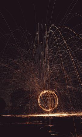 Скачать бесплатно картинку 93690: Абстракция, Круг, Свет, Искры, Фризлайт, Длинная Выдержка обои на телефон