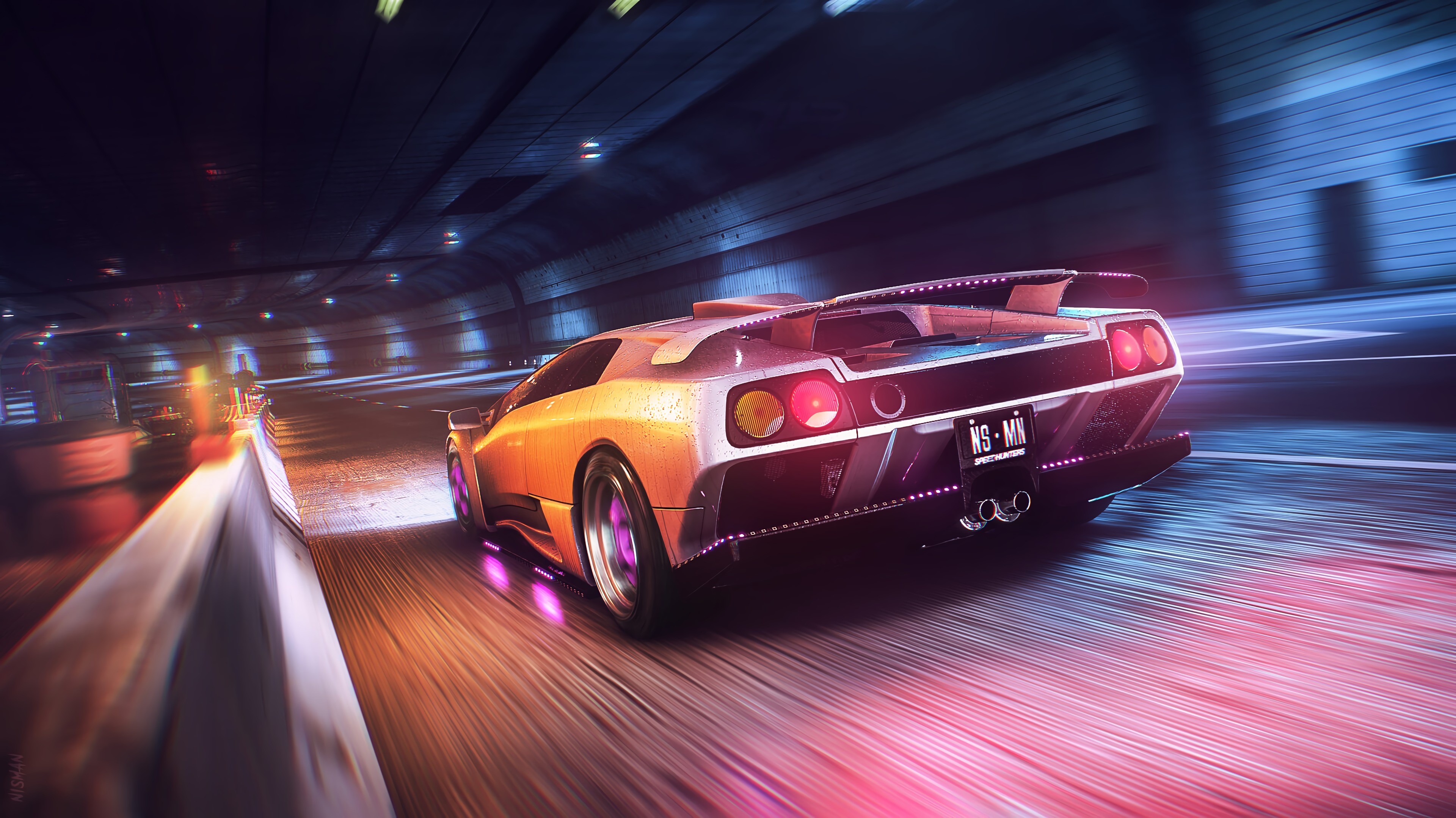 153637 Screensavers and Wallpapers Wet for phone. Download Sports, Cars, Wet, Car, Machine, Sports Car, Speed, Tunnel pictures for free
