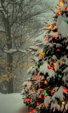 126507 Screensavers and Wallpapers Holidays for phone. Download Holidays, Christmas Tree, Toys, Shine, Light, Snow pictures for free