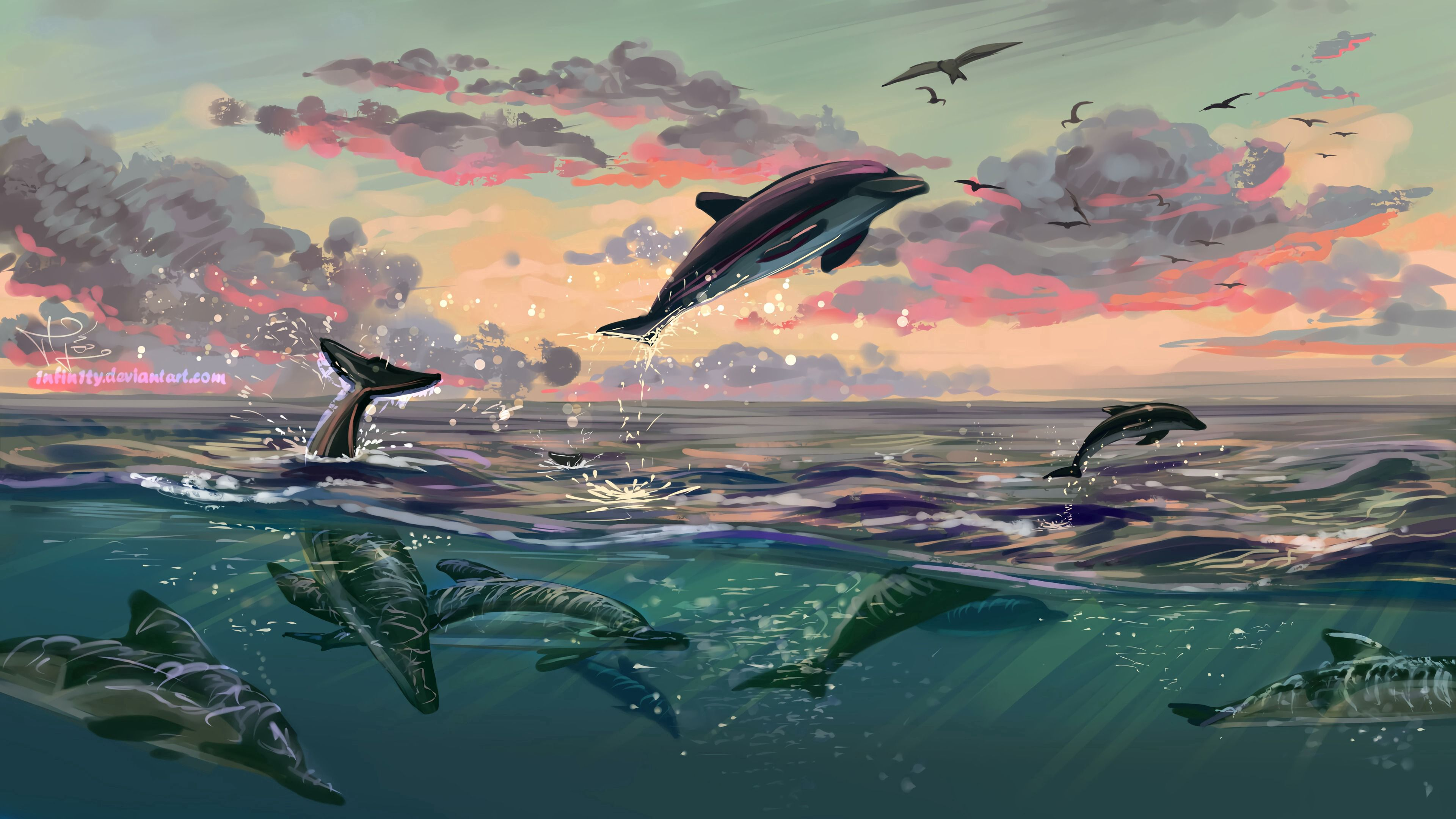 142399 download wallpaper Water, Art, Dolfins, Sea, Bounce, Jump screensavers and pictures for free